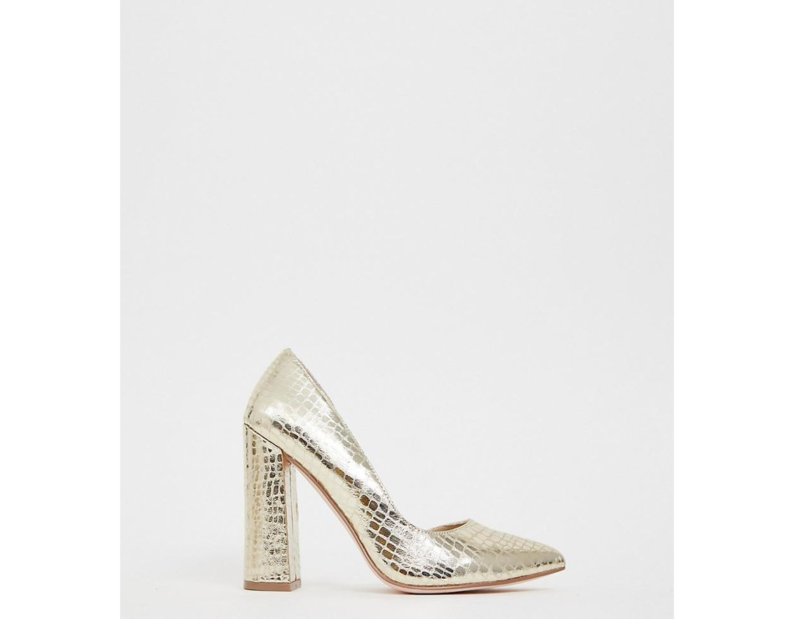 11435c1cacc Women's Metallic Wide Fit Walter D'orsay High Heels In Champagne Croc