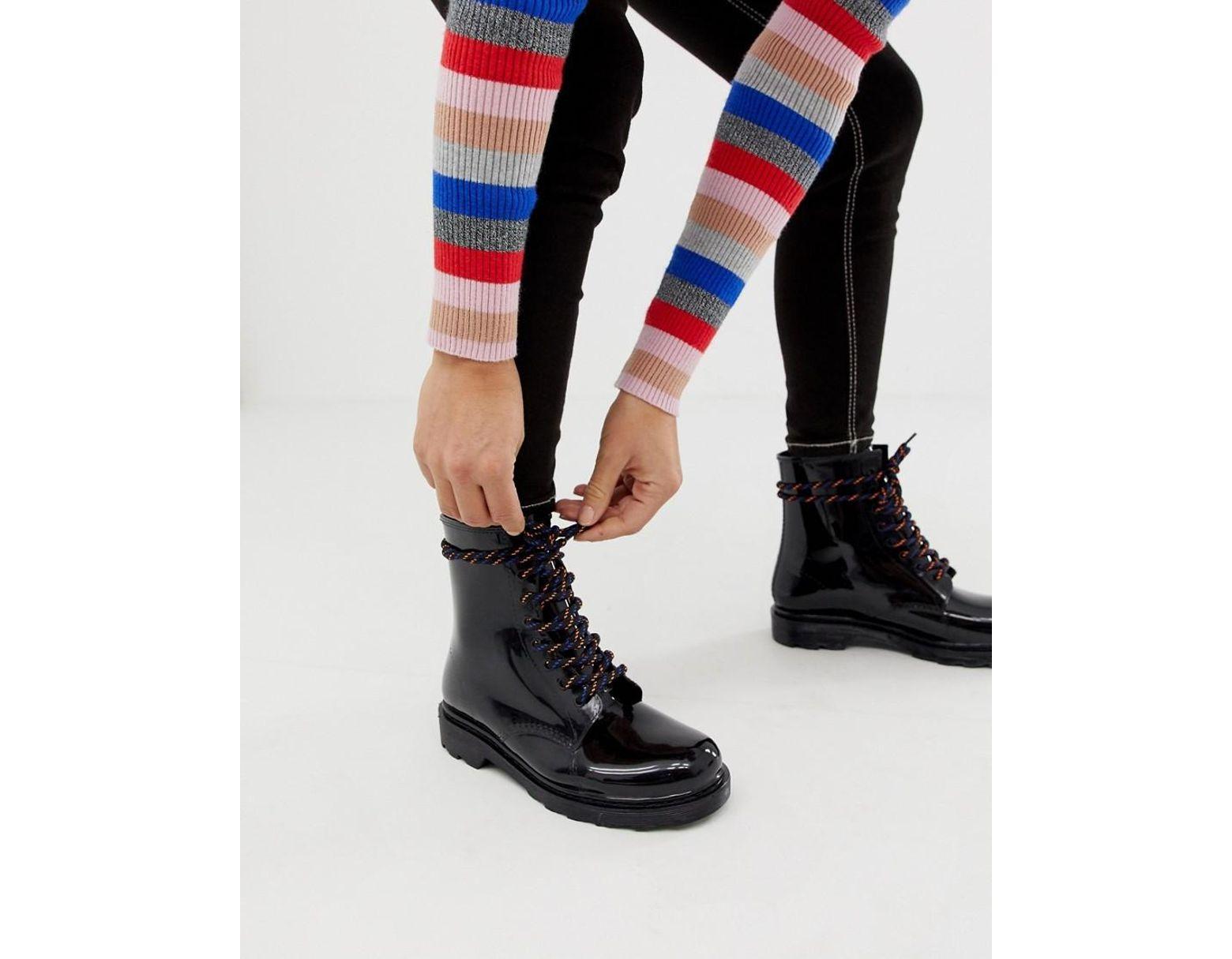 d39f9907722 Women's Black Global Hiker Lace Up Rain Boots