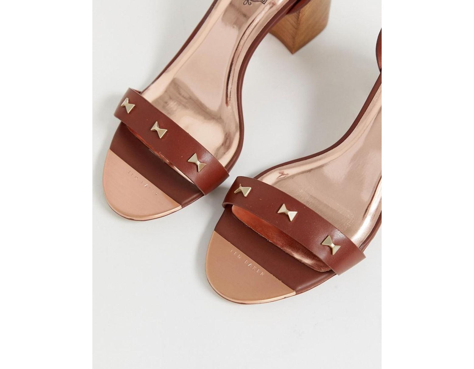 425317523aca Lyst - Ted Baker Tan Leather Block Heeled Sandals With Bow Studding in Brown