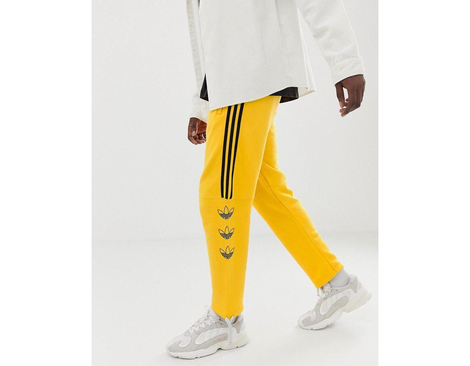 Dv3149 Trèfle Pantalon Et Jogging De À Rayures Logo Homme Jaune n0wOP8Xk