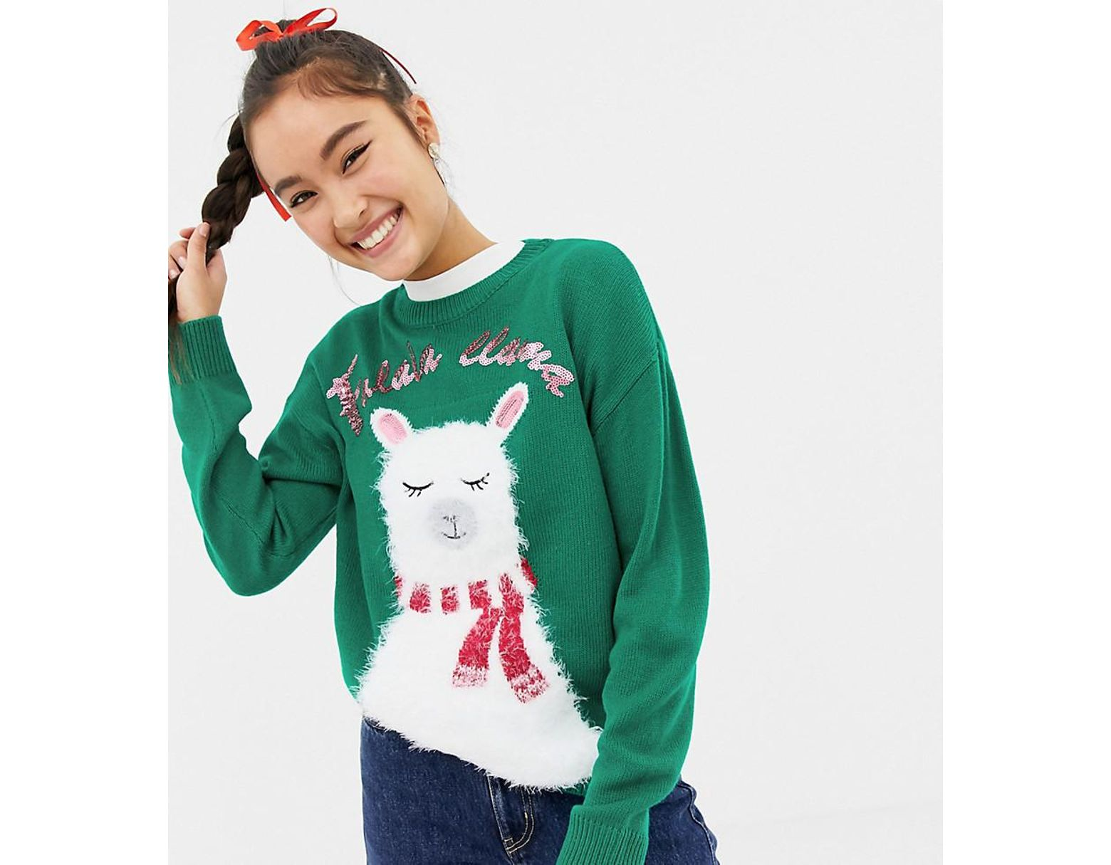Llama Christmas Sweater.Women S Christmas Sweater With Llama Print In Green