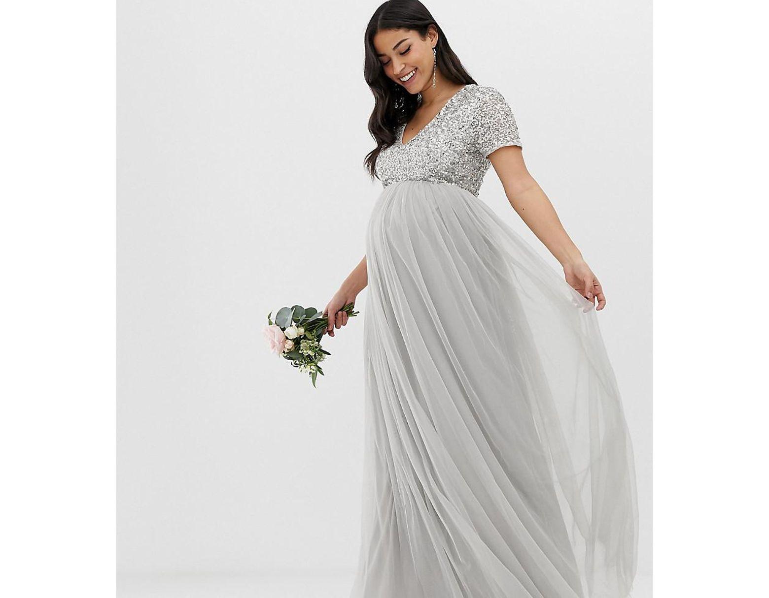 c6205f36a958 Maya Petite Long Sleeve Sequin Top Maxi Tulle Dress | Saddha
