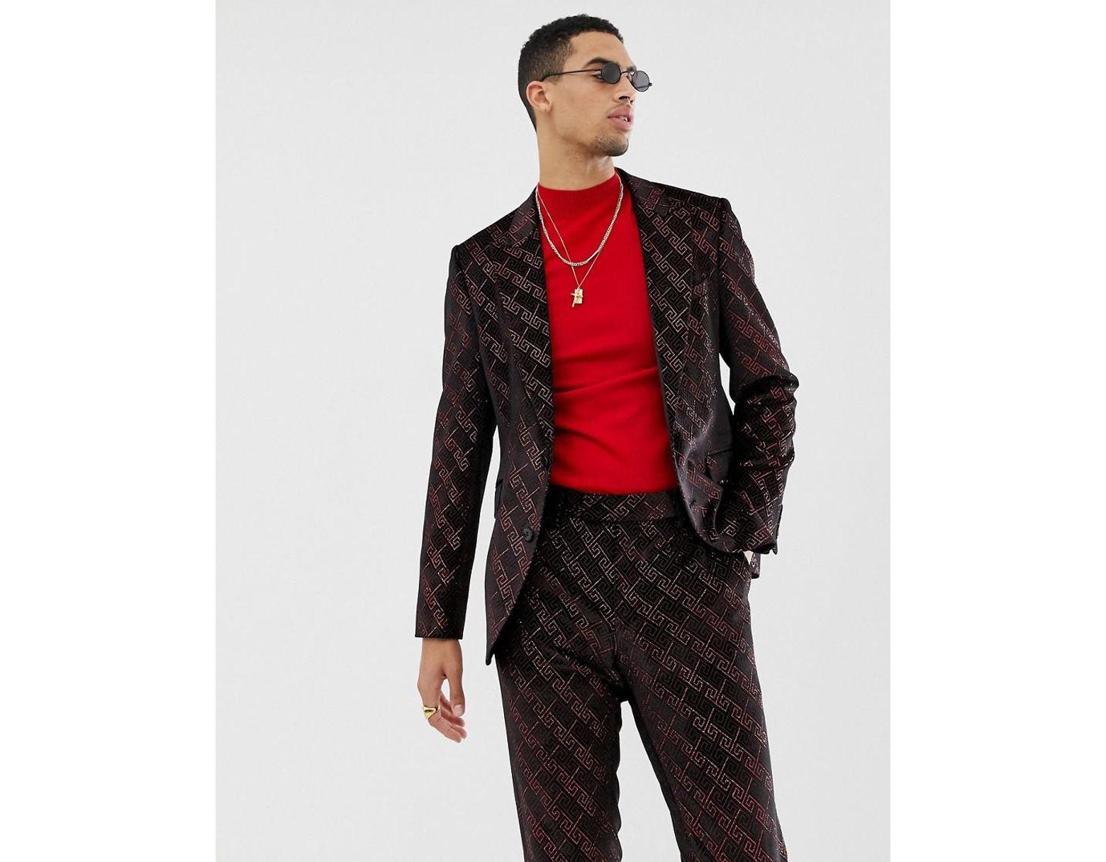 092b29a137135 ASOS Super Skinny Suit Jacket In Velvet With Red Glitter Design in Red for  Men - Lyst