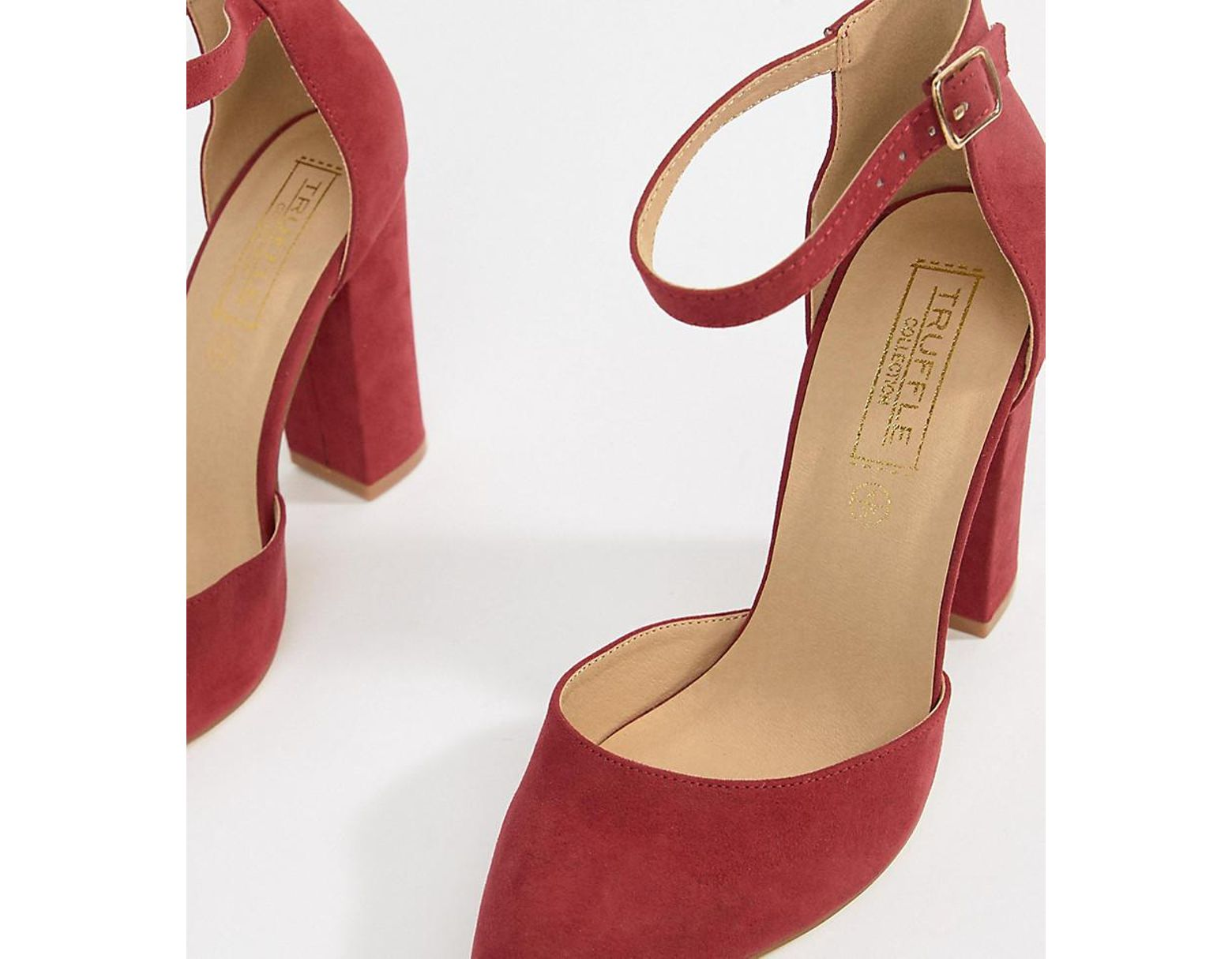 443cf0746df3f Truffle Collection Pointed Block Heels in Red - Lyst