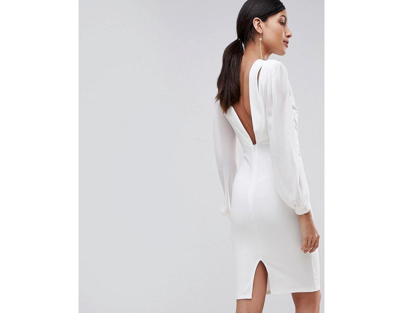 797da9da8d20 John Zack Open Back Bodycon Dress With Split Sleeve Detail in White - Lyst