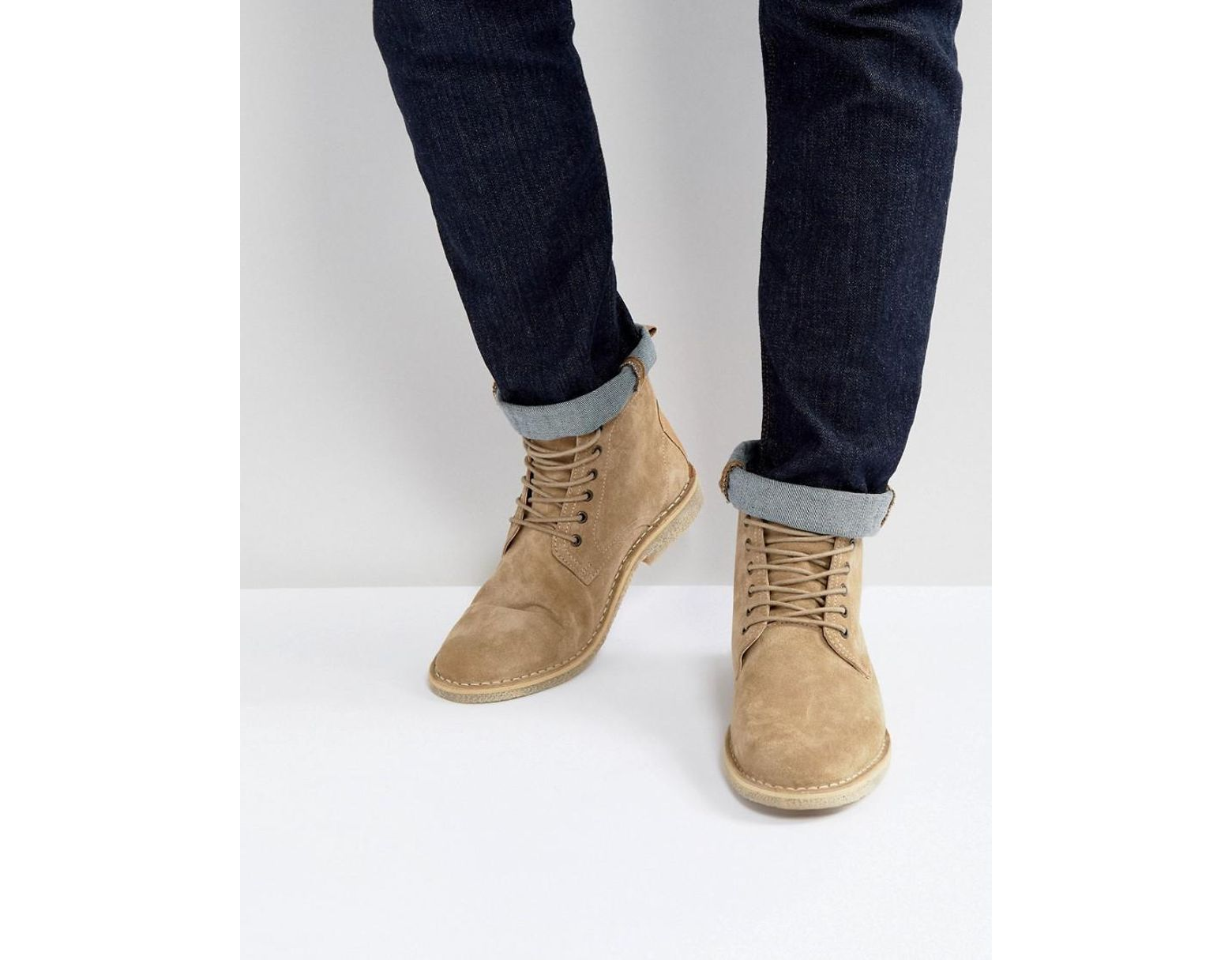 cdd388c0ff7 Men's Natural Desert Boots In Stone Suede With Leather Detail