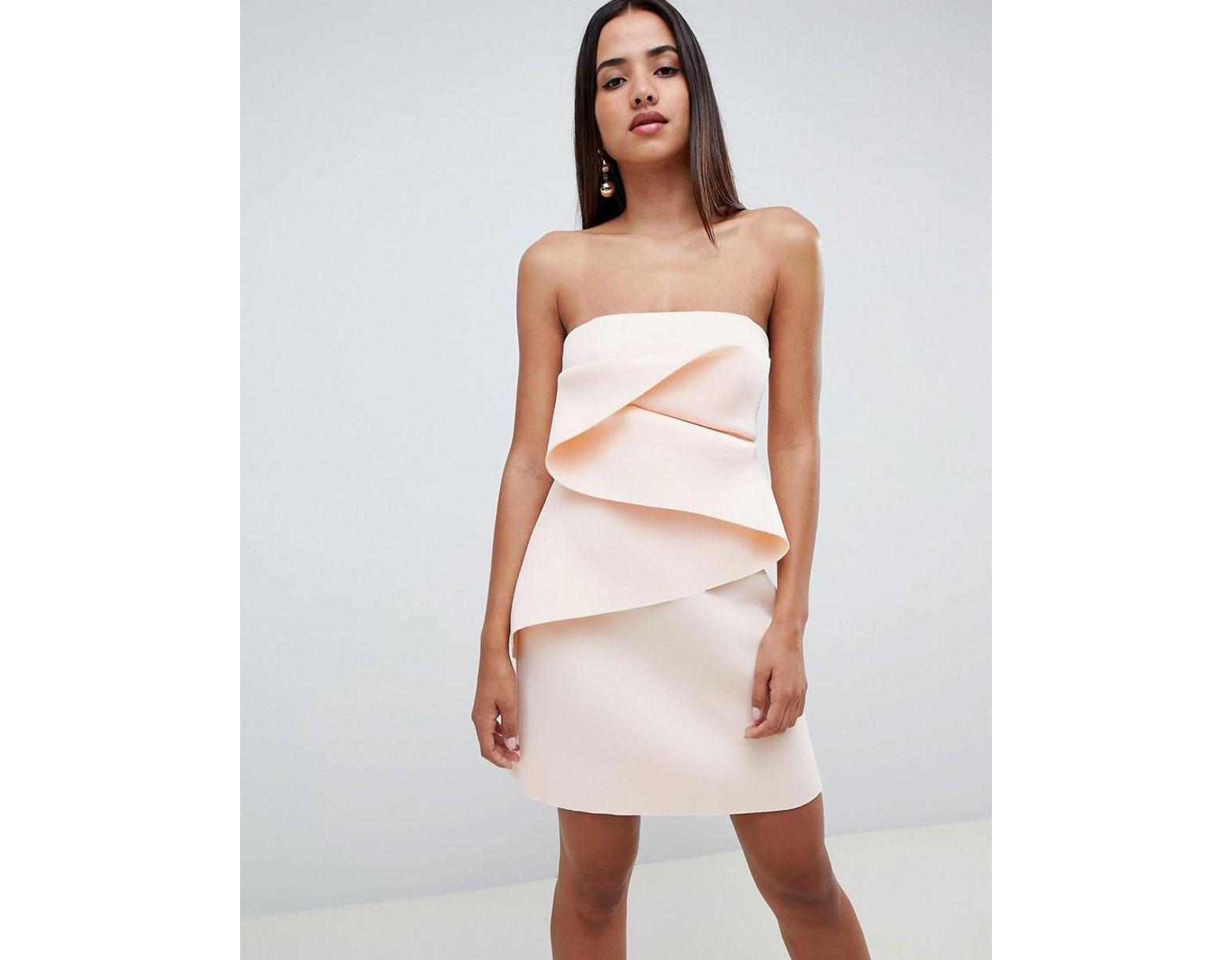 Blanc Femme Façon Plis Courte De Robe Tissée À Coloris Origami Droite Non 9eIYH2WED