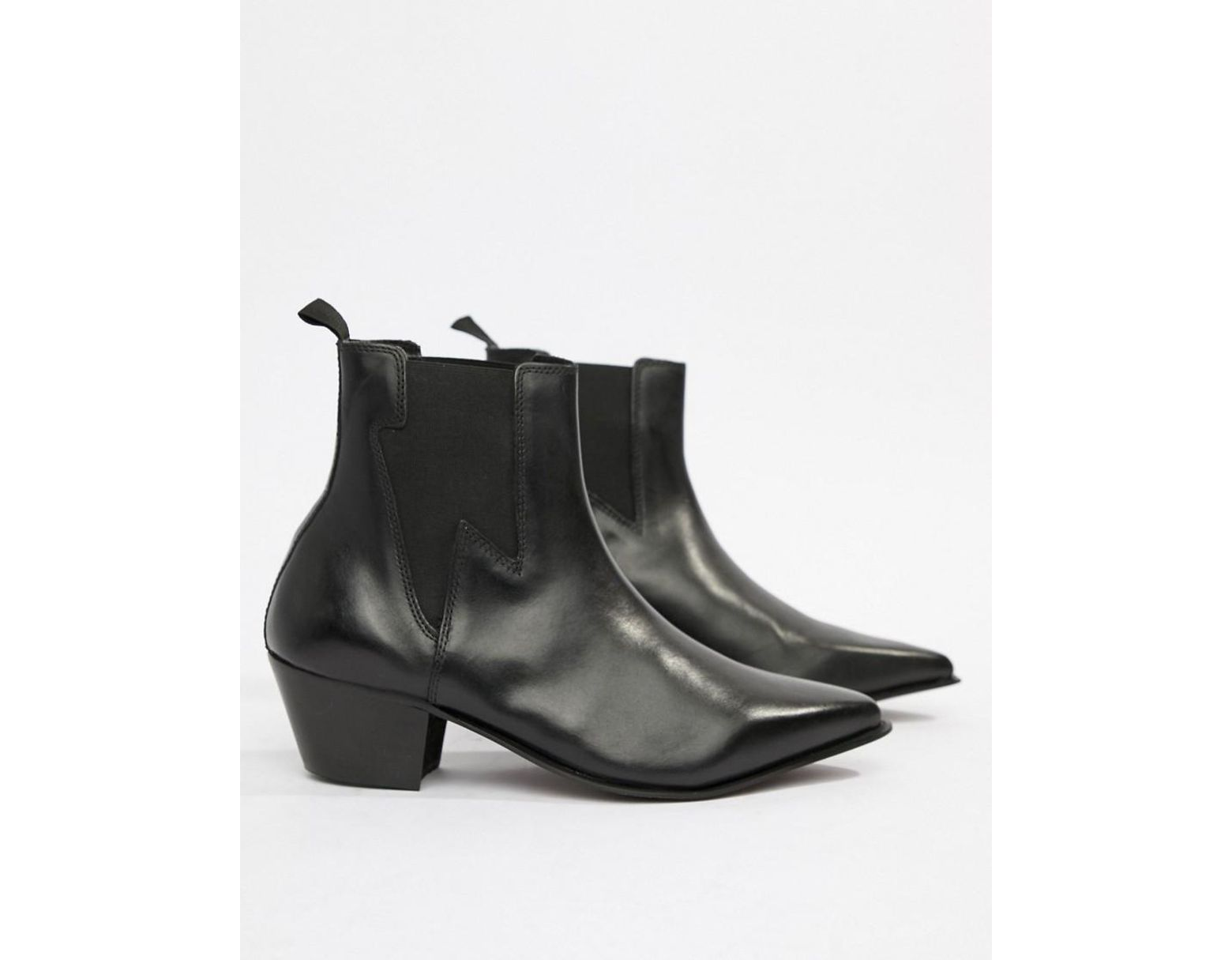 0089f44c3500 Lyst - ASOS Wide Fit Cuban Heel Western Boots In Black Leather With  Lightning Detail in Black for Men