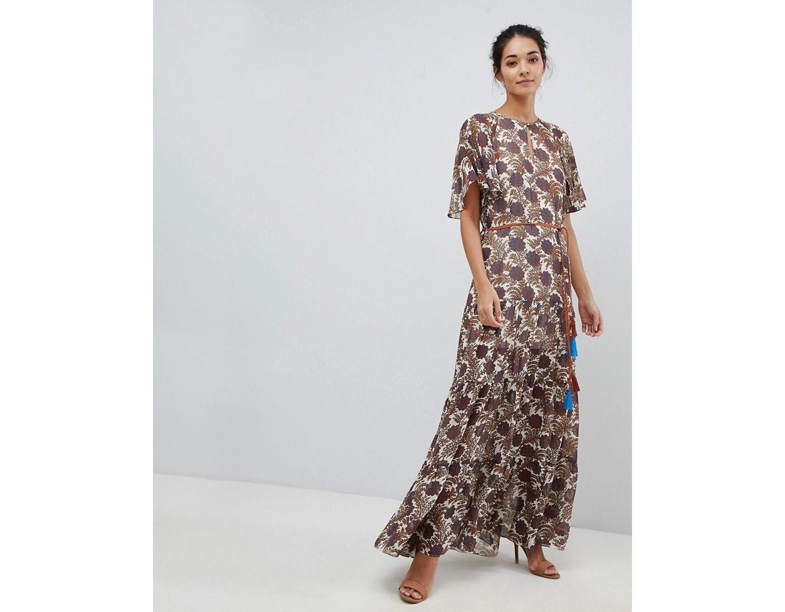 En Imprimée Ceinture Robe Femme Longue Avec Mousseline TcFKlJ1