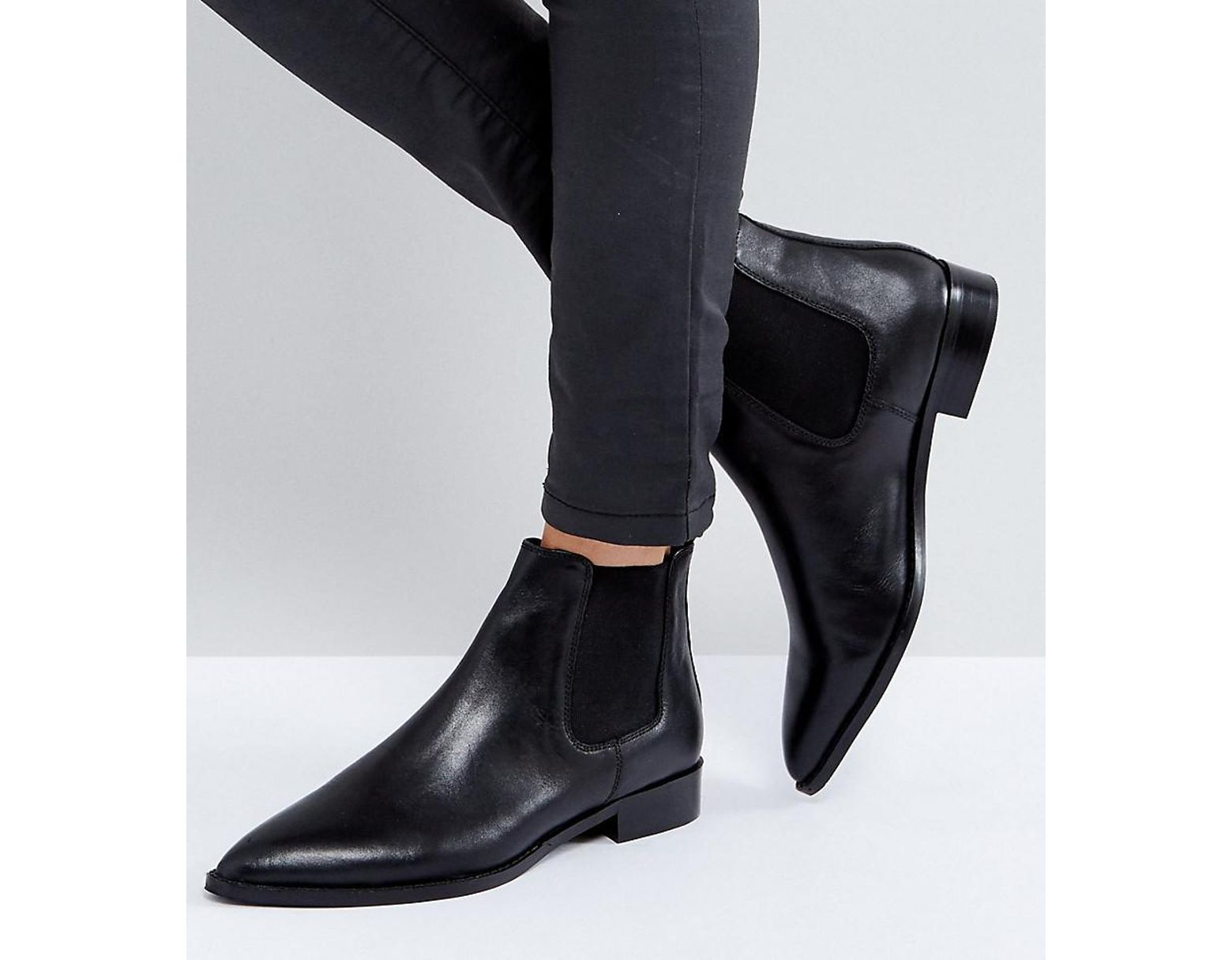 9df9a2b786b Women's Black Asos Automatic Leather Chelsea Boots