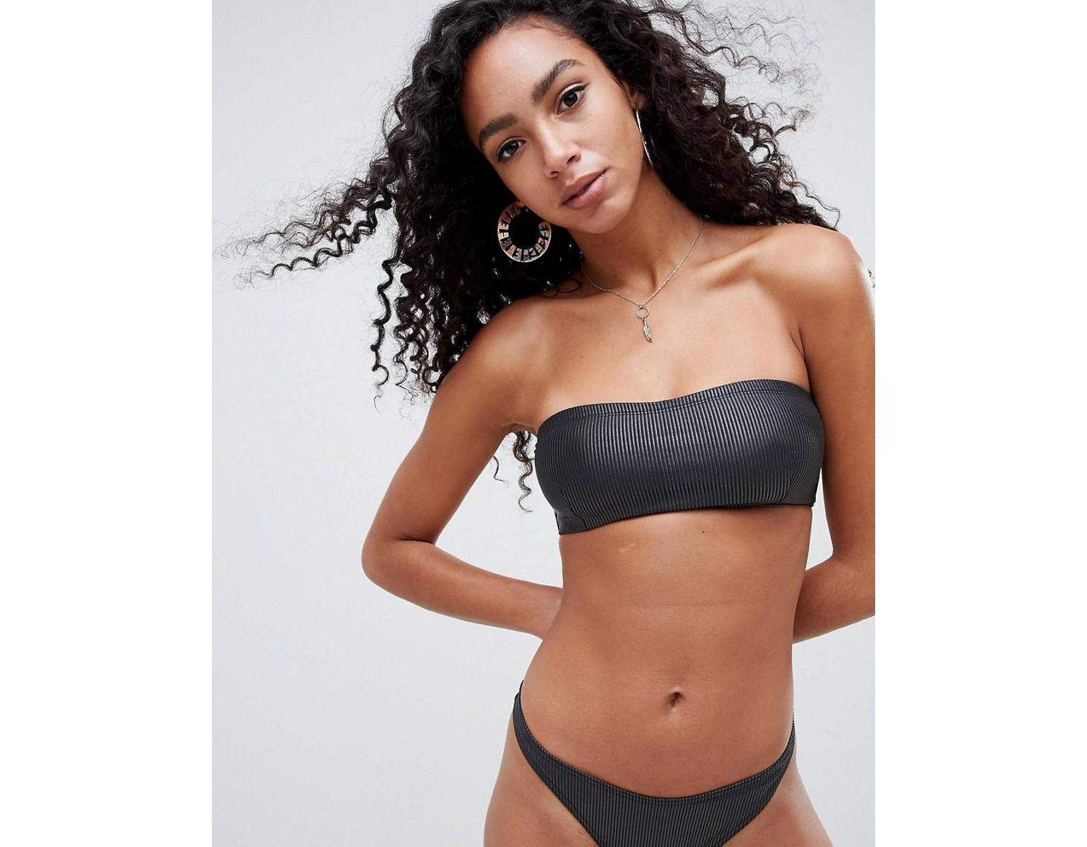 763bd50220479 ASOS Wet Look Ribbed Bandeau Bikini Top In Black in Black - Lyst