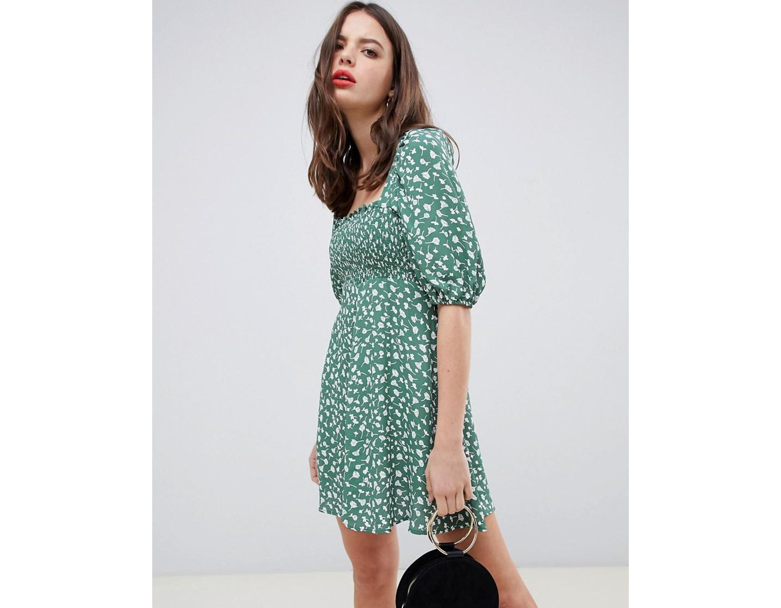 c7b5ab9e4 Women's Green Shirred Bustier Mini Skater Dress With Puff Sleeve In Floral  Print