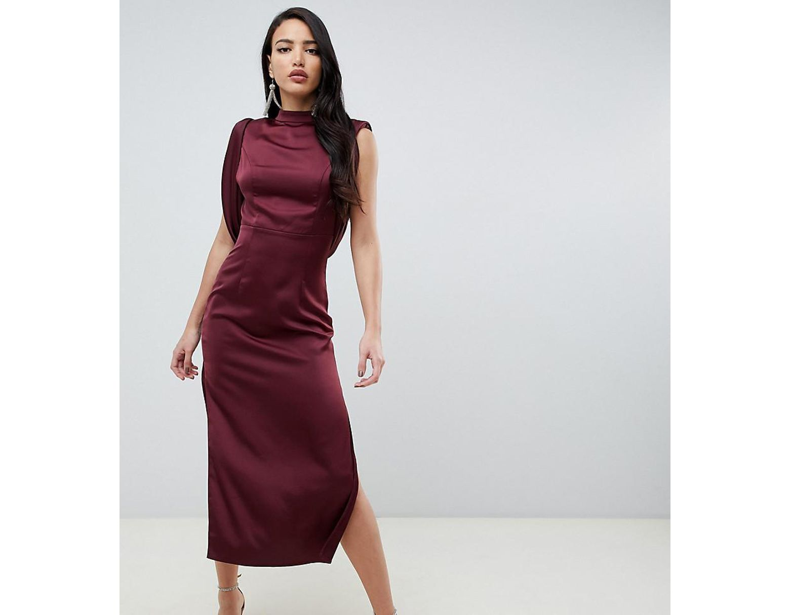 e63519d588e5 ASOS Asos Design Tall Satin Midi Dress With Drape Armhole And Side Split in  Red - Lyst
