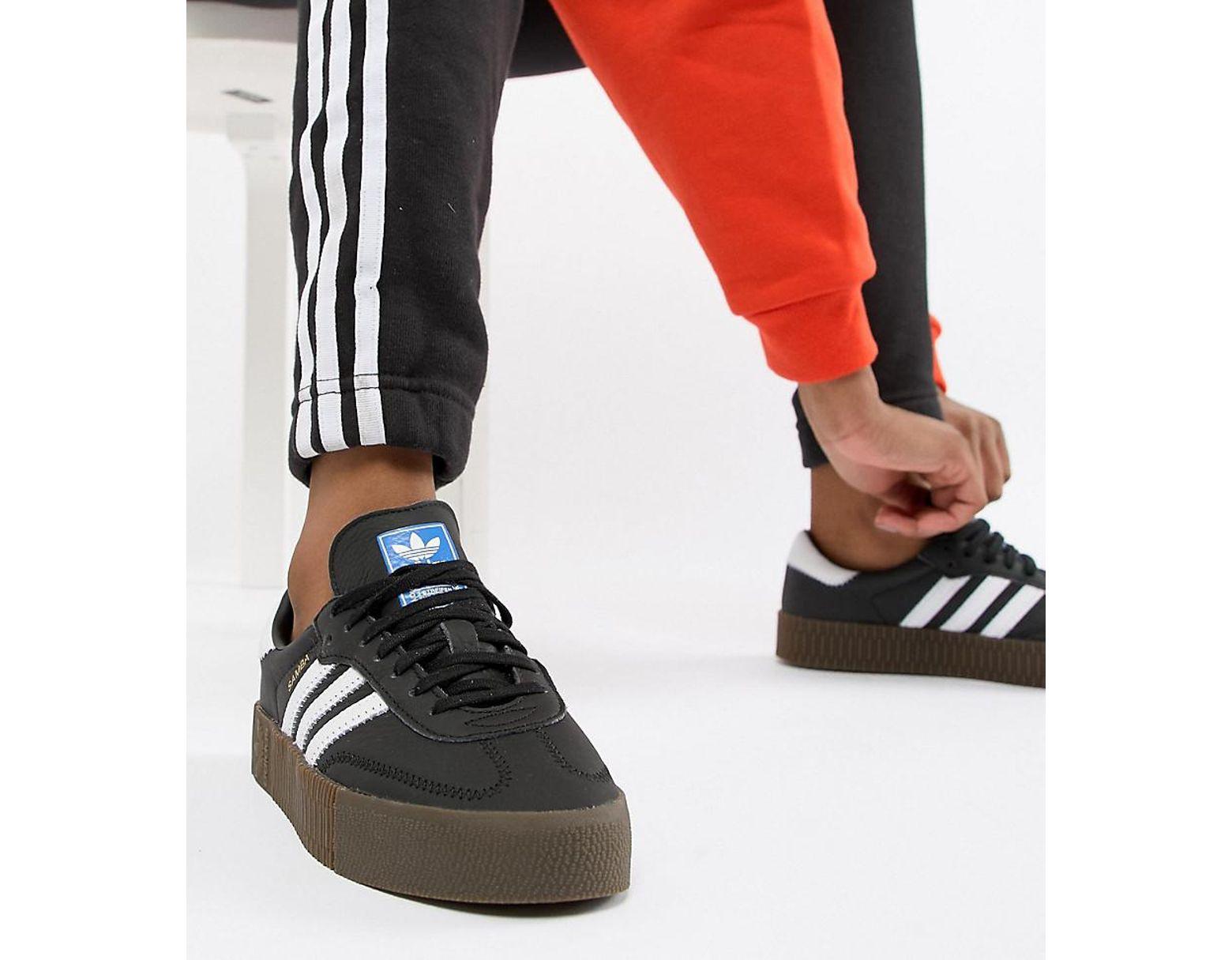 84098e4384b5 adidas Originals Samba Rose Sneakers In Black With Dark Gum Sole in Black -  Lyst