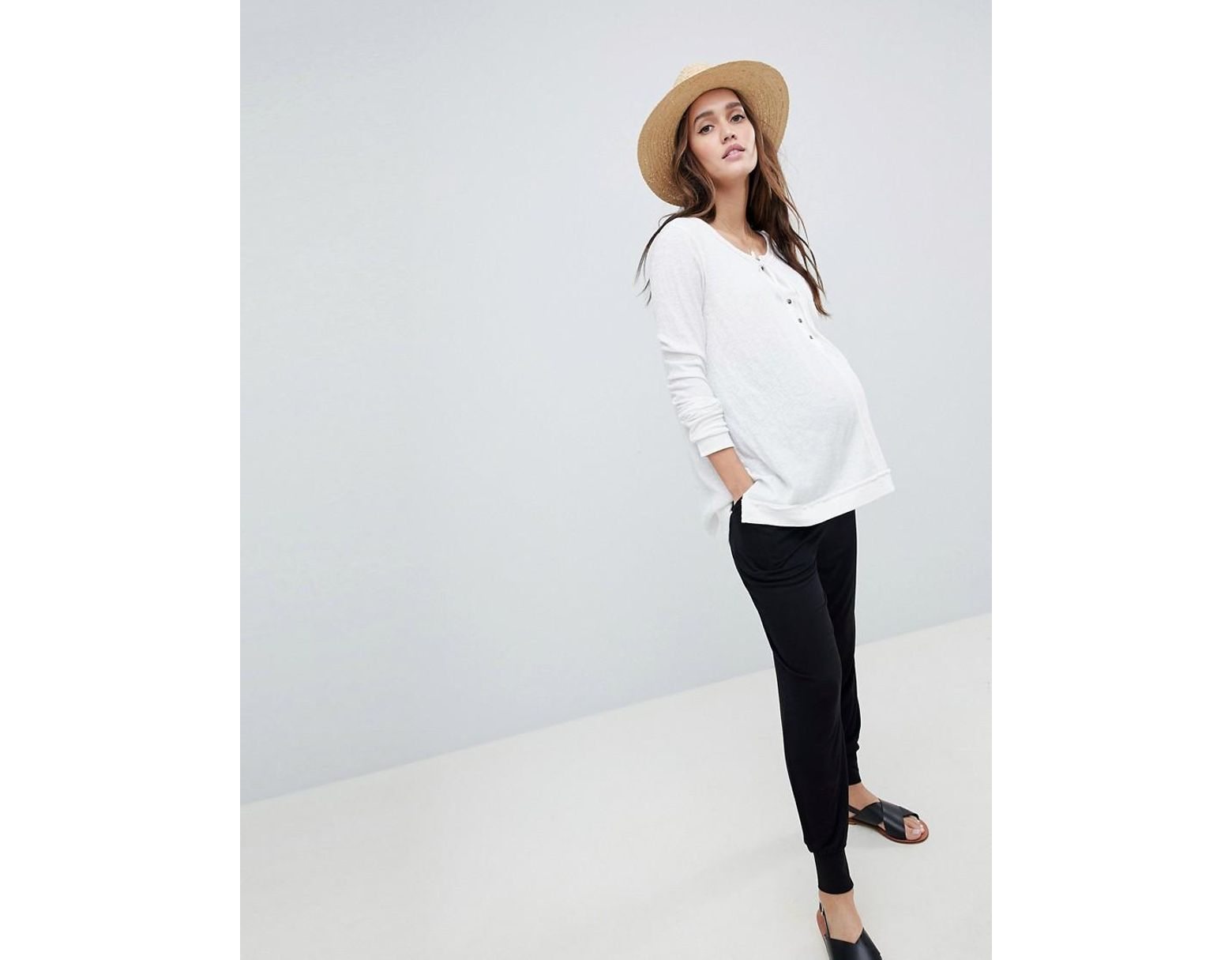 507c328f8 ASOS Asos Design Maternity Over The Bump Ultimate Jersey Harem Trousers in  Black - Lyst