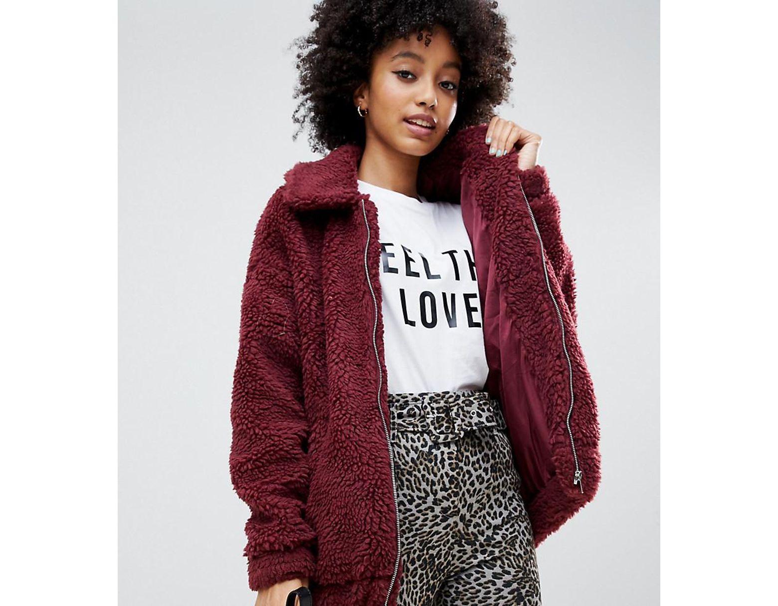 5814c81cb Women's Red Teddy Faux Fur Bomber Jacket In Burgundy