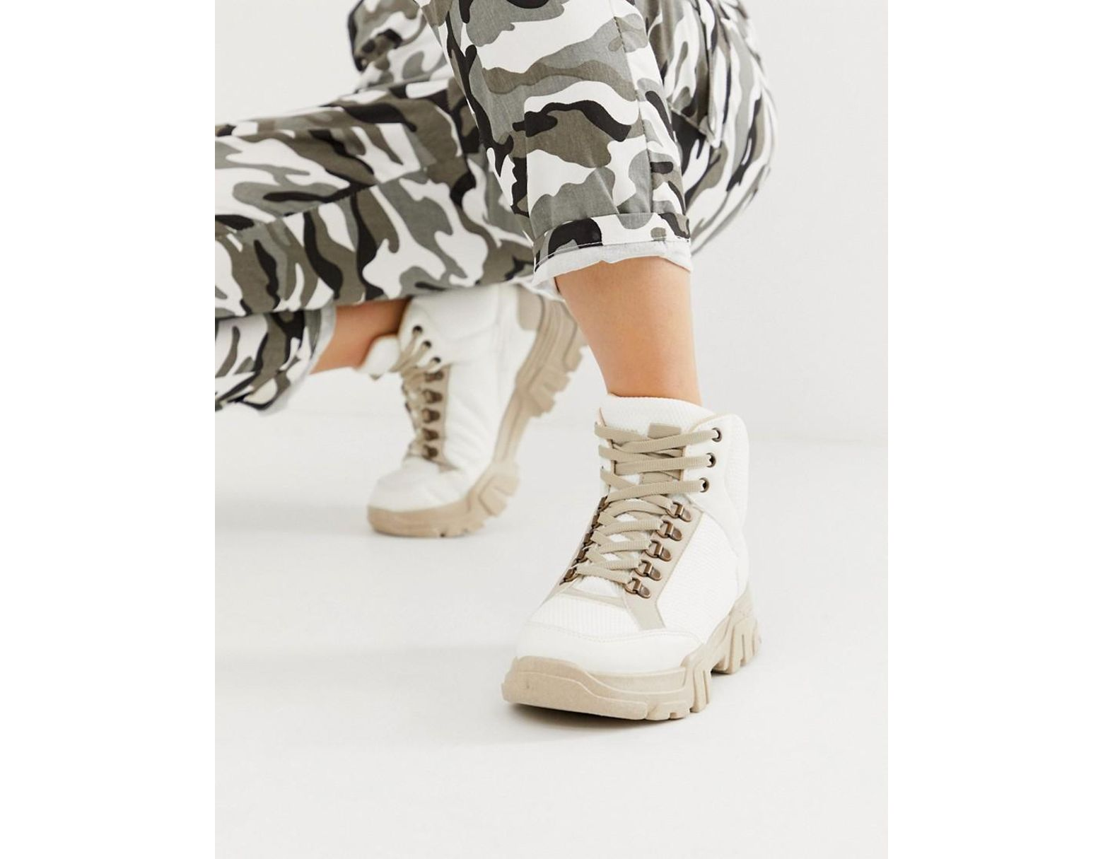 081a087bedf Women's Darkness Chunky Hiker Trainer Boots In Off White