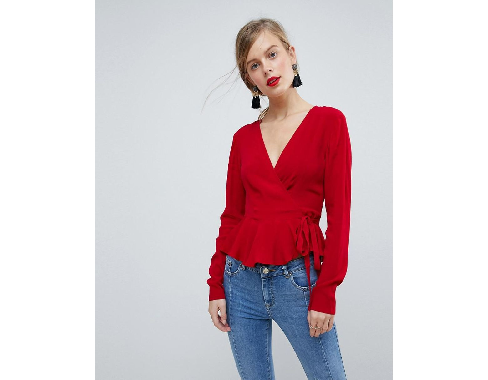 286b77a1eea9bc ASOS Wrap Top With Pephem in Red - Lyst
