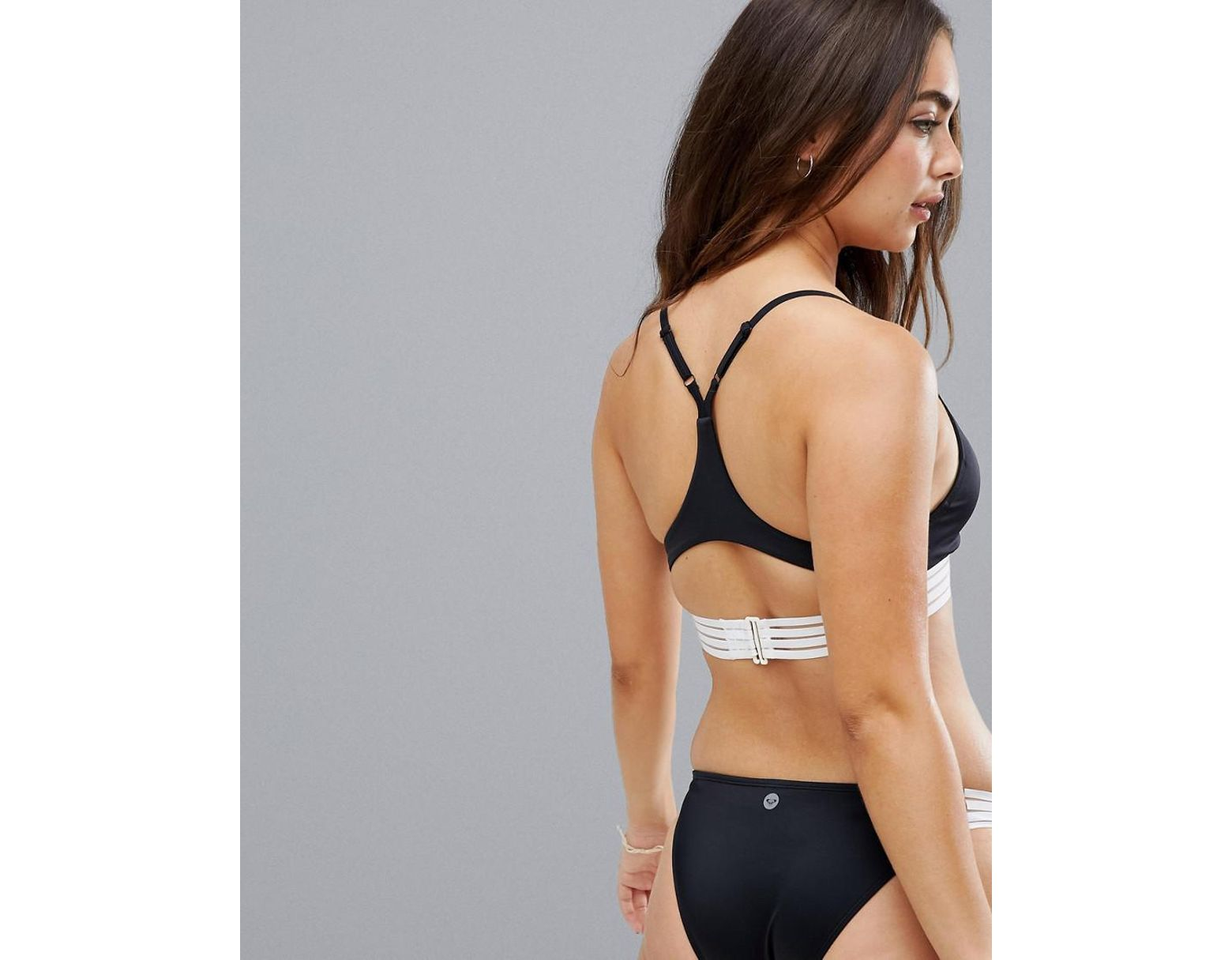 3b3404227068f Roxy Fitness Mod Athletic Triangle Bikini Top in Black - Lyst