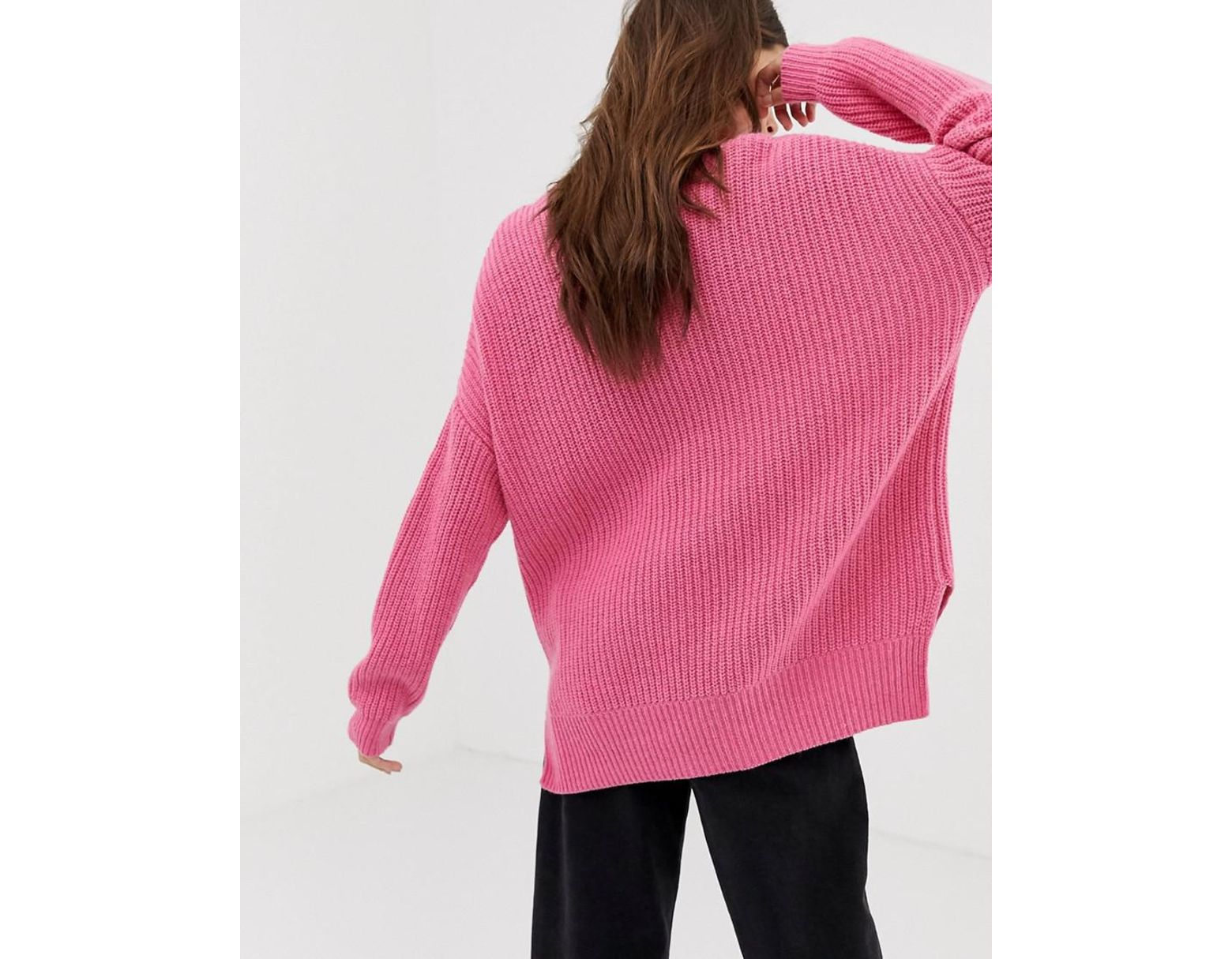 05366ef30af Lyst - Whistles Chunky Ribbed Oversized Jumper in Pink