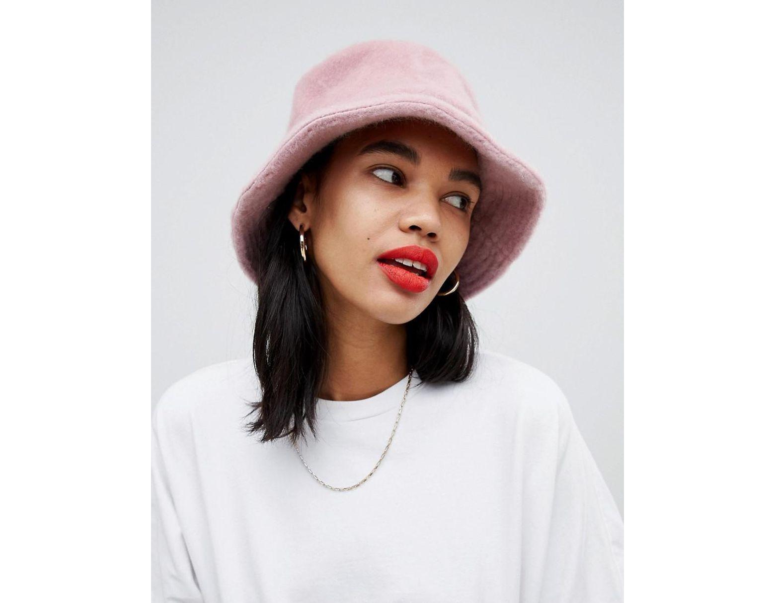11f85715a4018 ASOS Fluffy Bucket Hat in Pink - Lyst