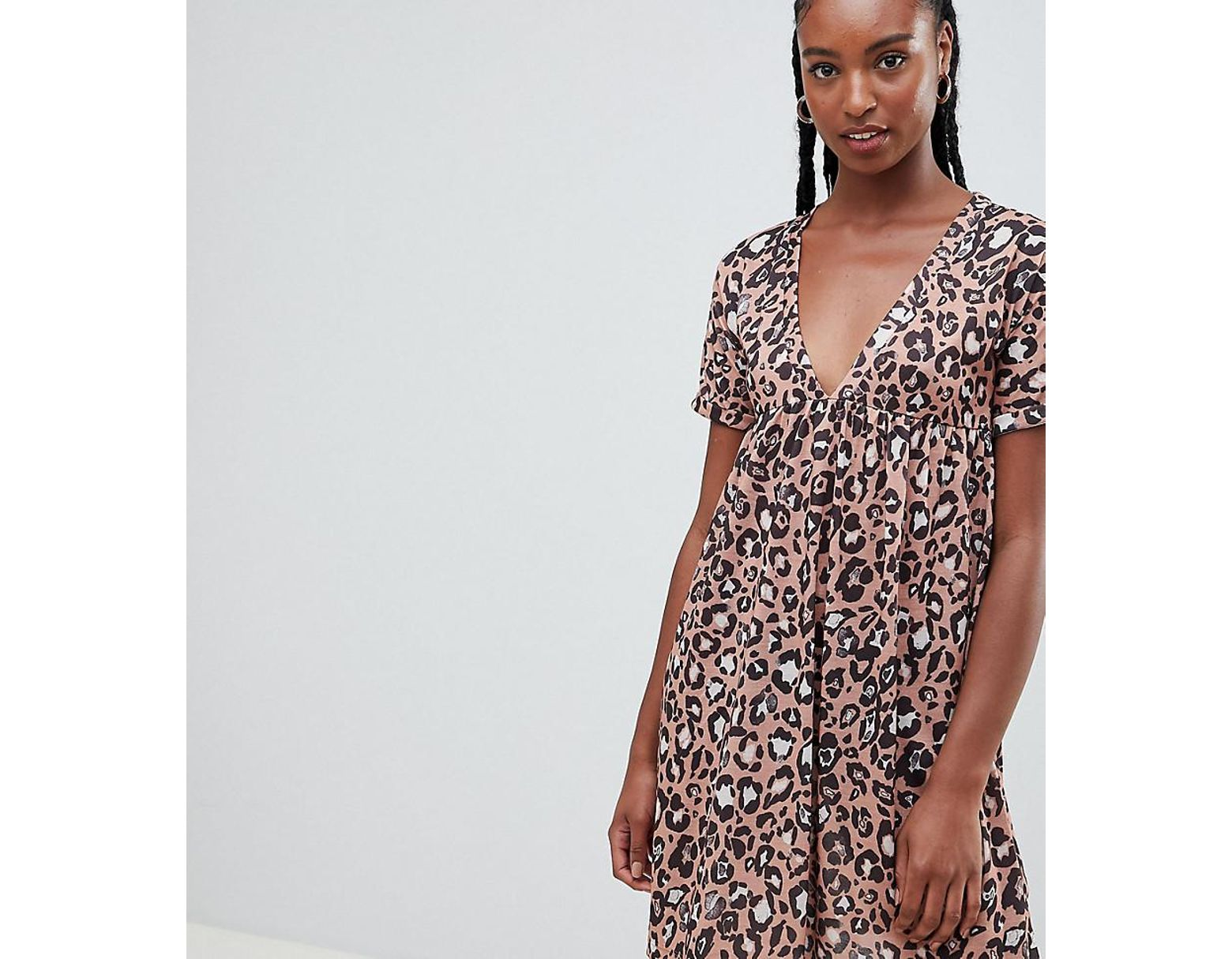 9d5bed9e819a ASOS Asos Design Tall Ultimate Cotton Smock Dress In Leopard Print - Lyst