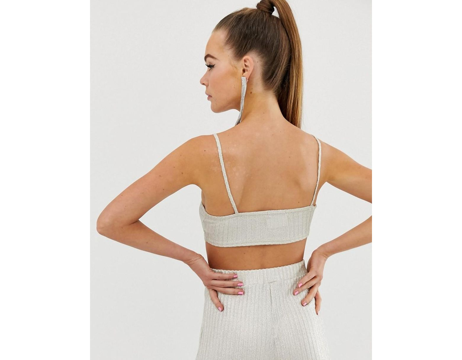 8dd5991465 Fashionkilla Square Neck Micro Crop Top Two-piece In Ribbed Glitter in Pink  - Lyst