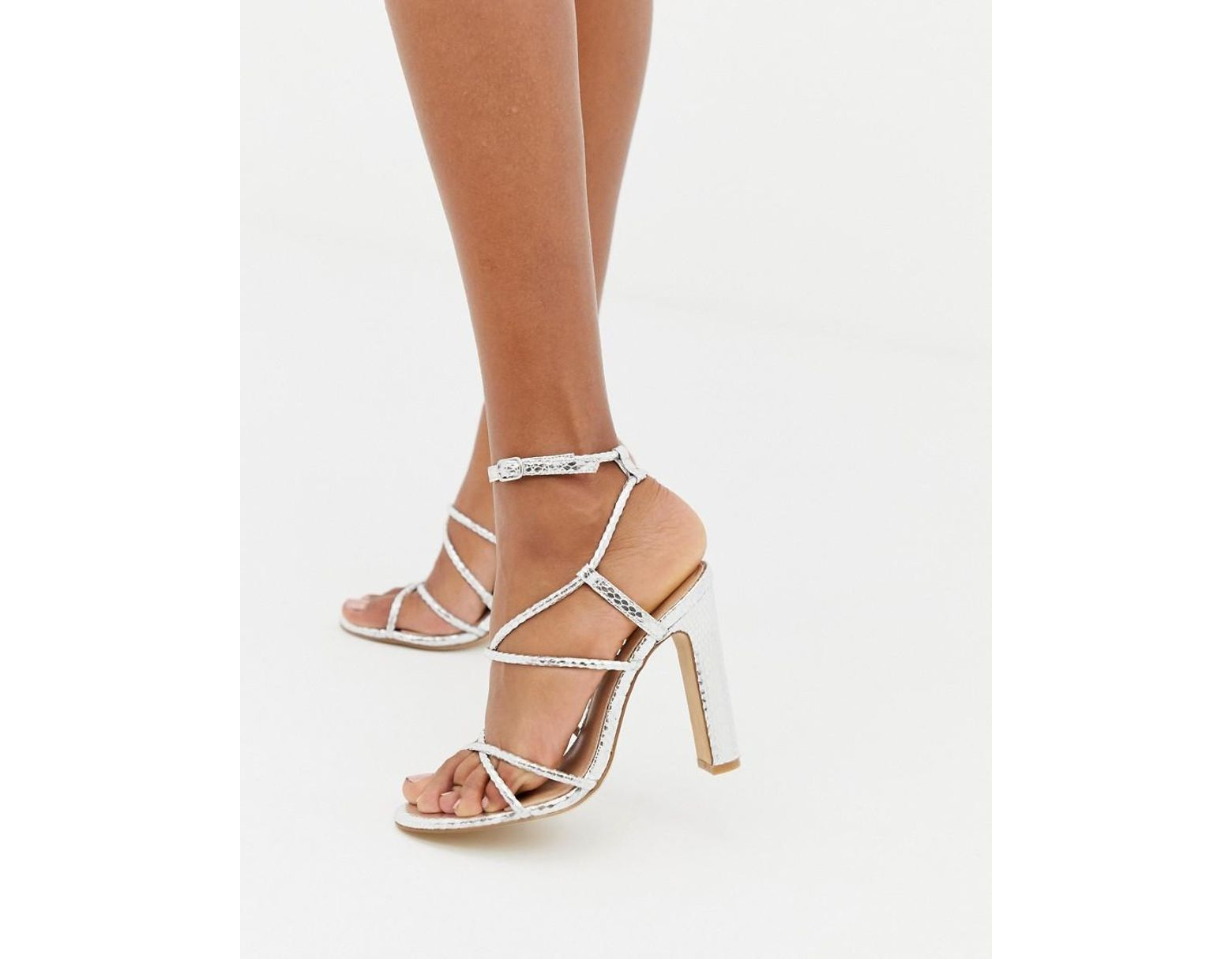260280f6865 Women's Metallic Heaven Silver Snake Strappy Heeled Sandals