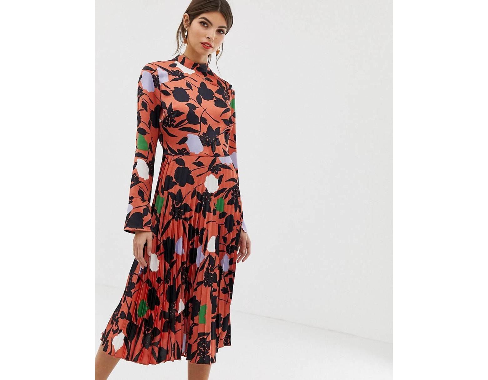 4ca1a80fe1877b ASOS Pleated Midi Dress With Fluted Sleeve In Floral Print in Red - Lyst