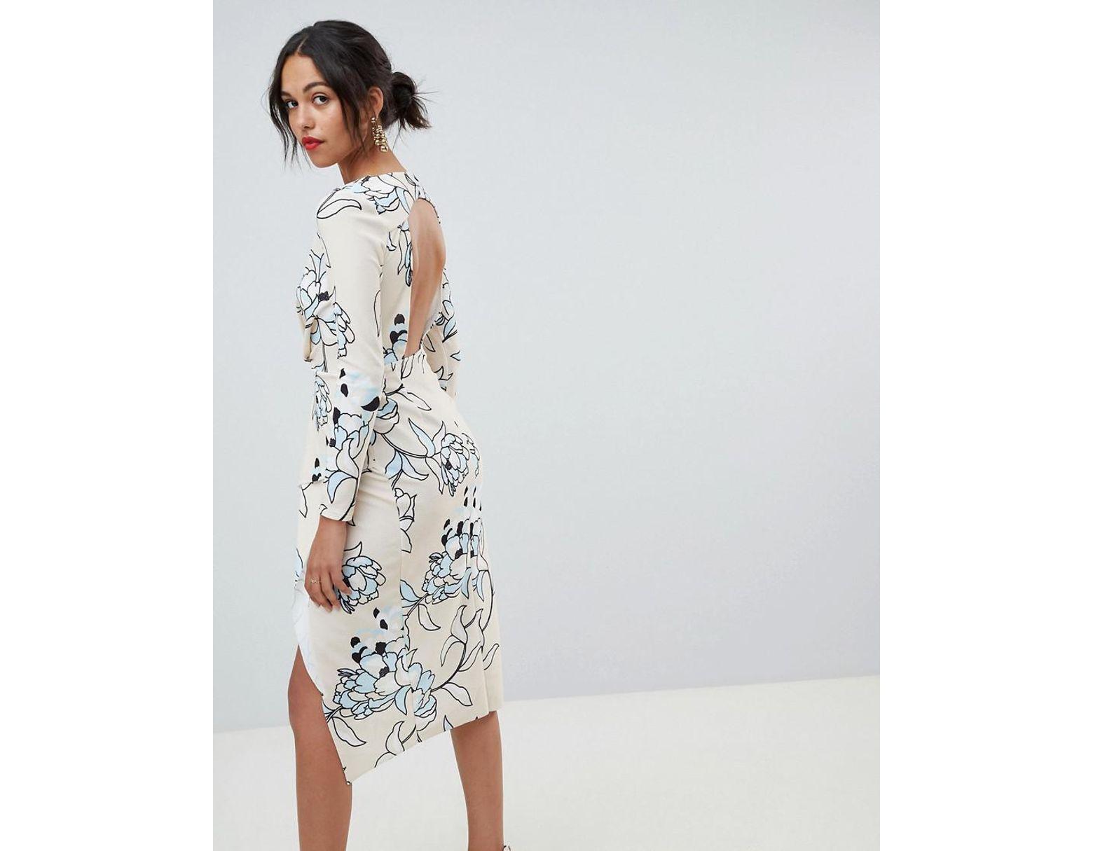 e8660b642bd Long Sleeve Floral Wrap Midi Dress - Gomes Weine AG
