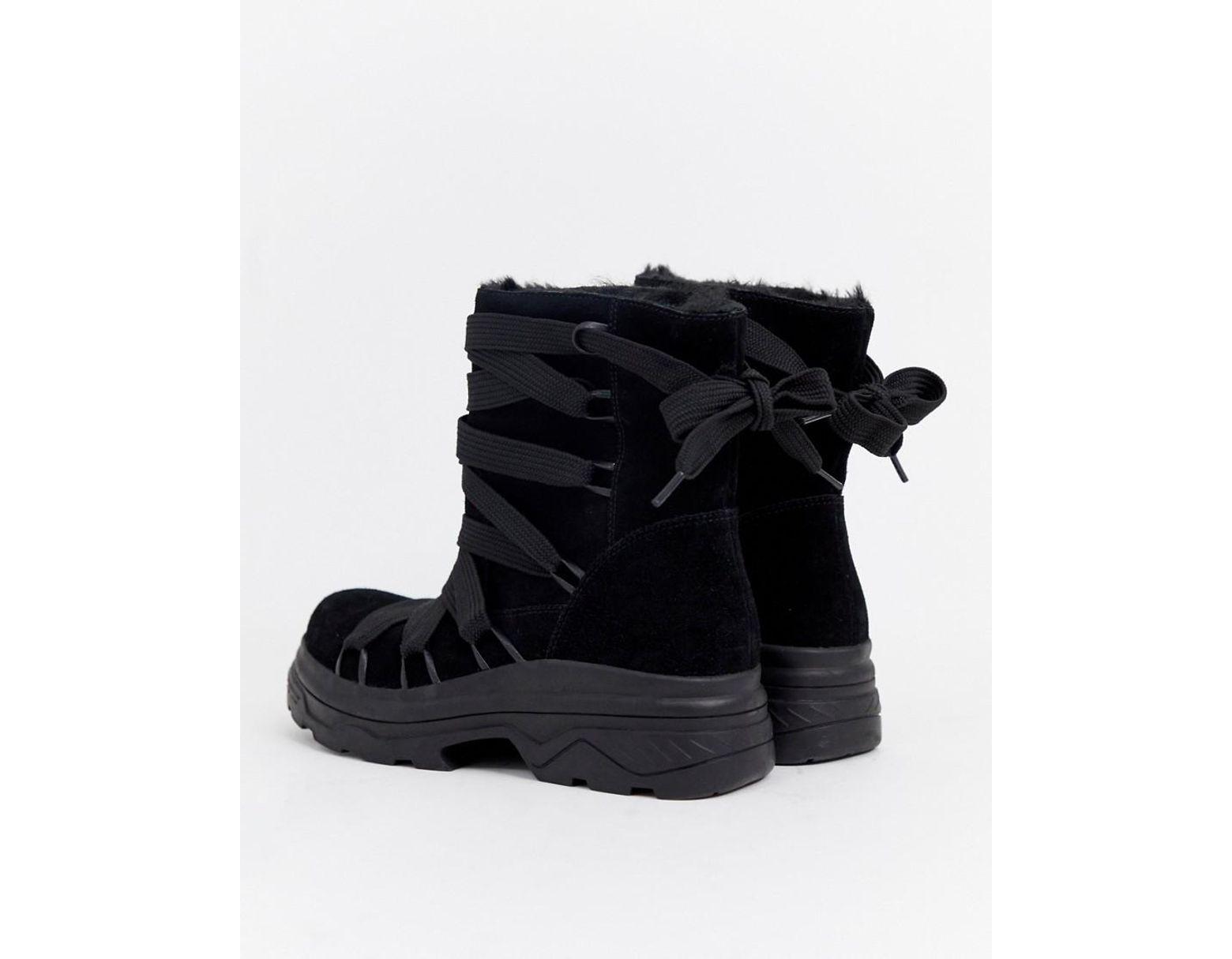 7015c171479 Women's Black Adaptive Chunky Suede Aprs Ski Boots