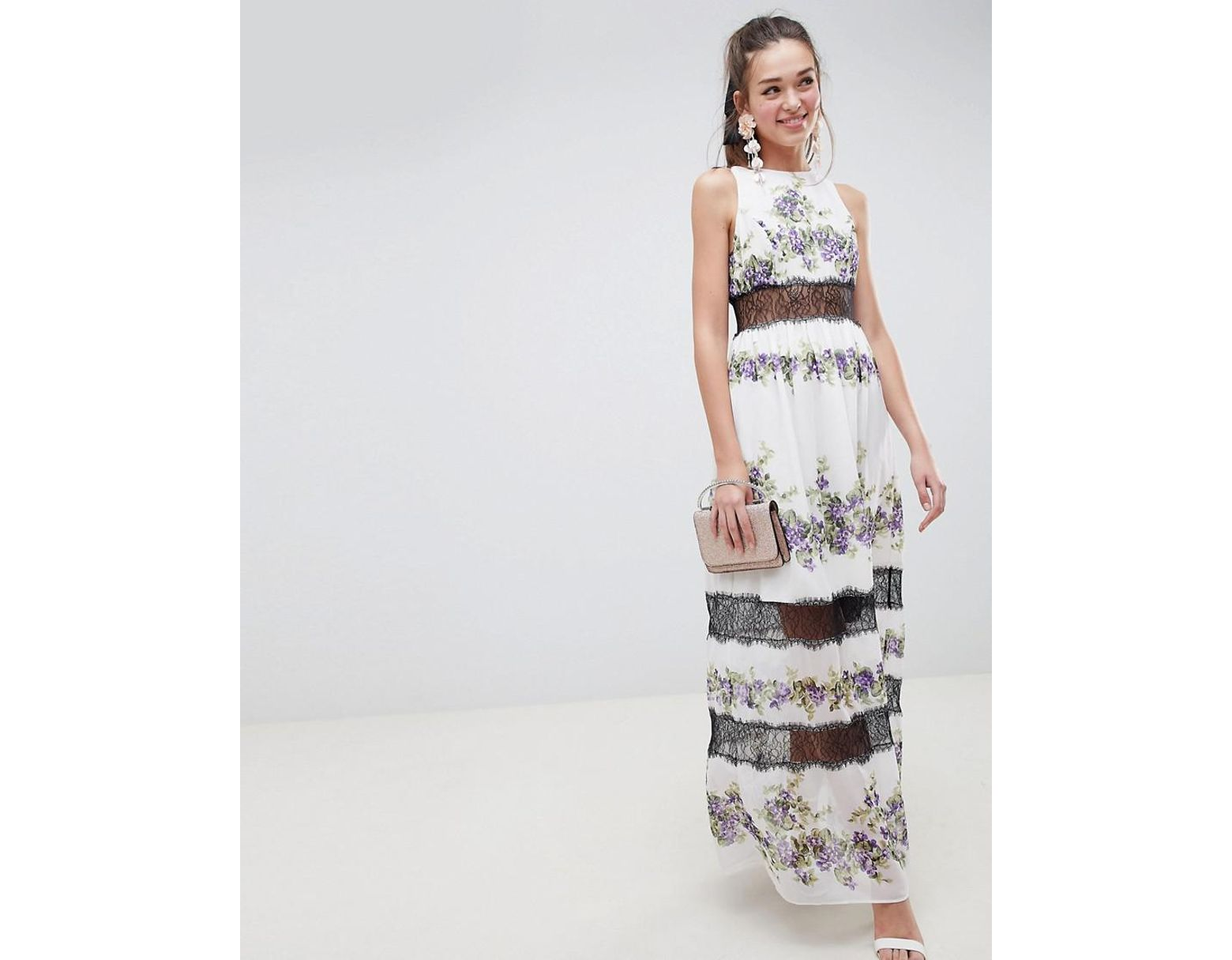 79a137ed41c Lyst - ASOS Lace Panel Maxi Dress In Vintage Floral
