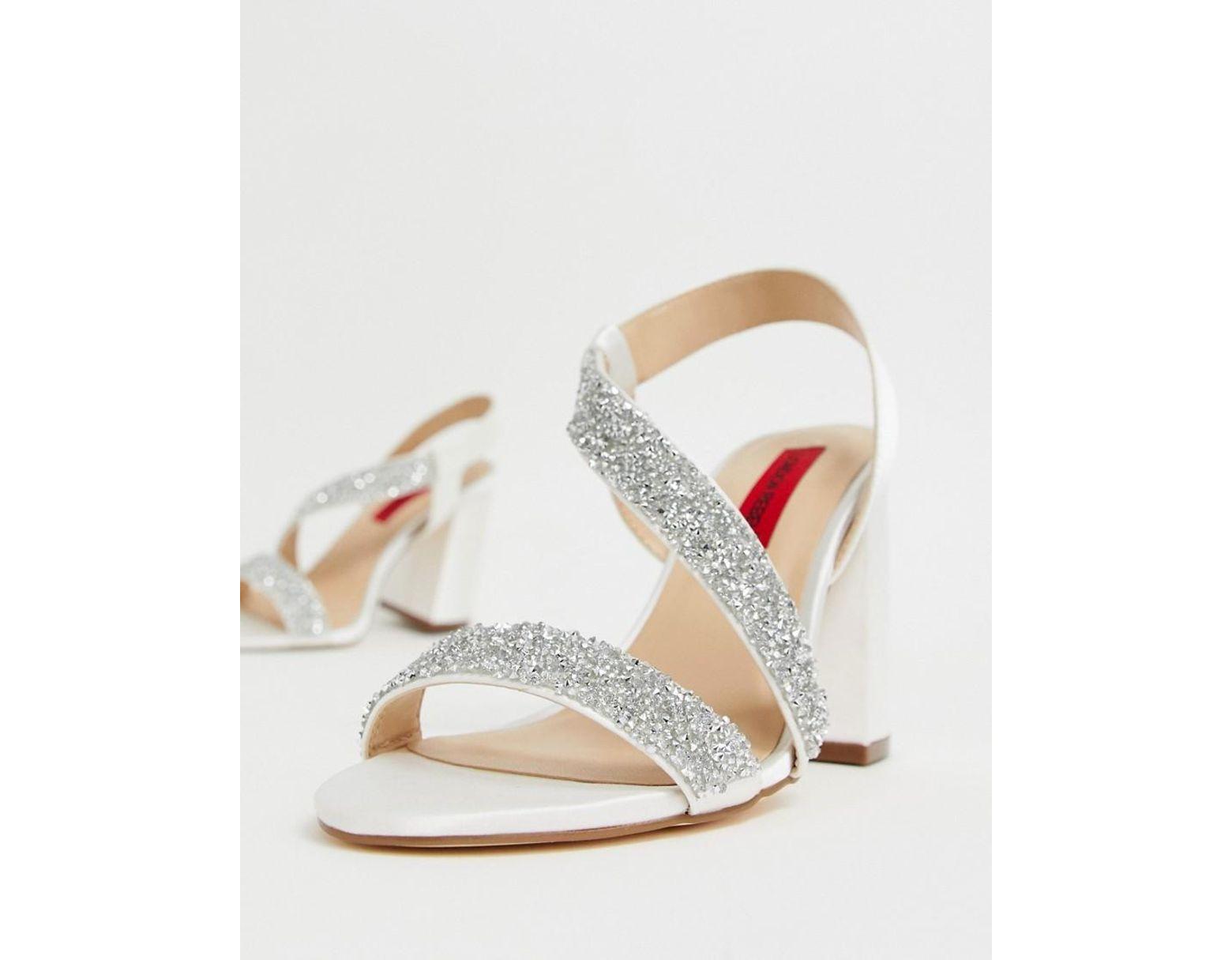 1af0c80b89b Women's Bridal Barely There Embellished Block Heel Sandals