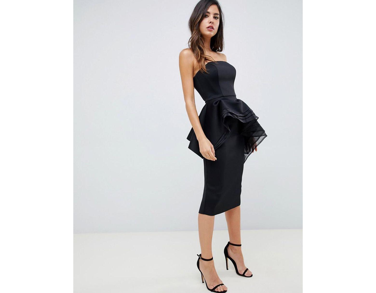 eb09e695f6d Women's Black Premium Bandeau Peplum Bodycon Midi Dress With Organza