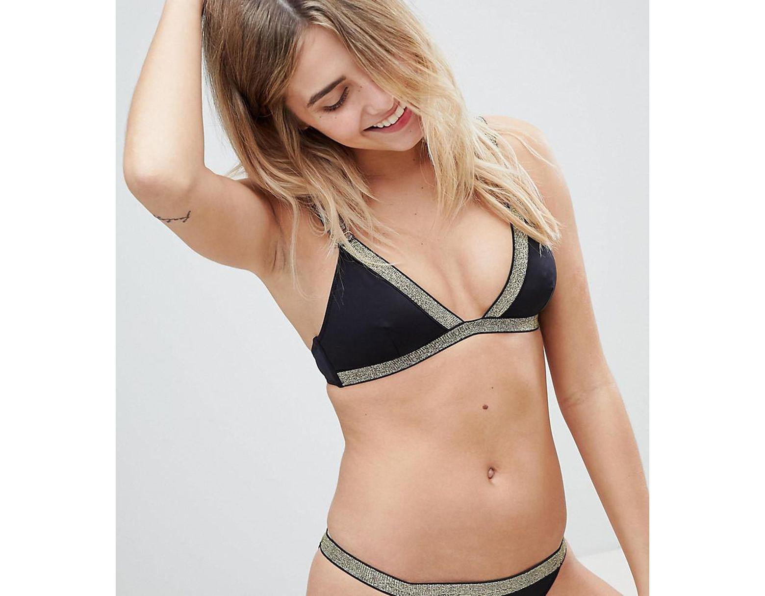 Bikini Scintillants Triangle Haut Femme De Avec Bords N8nm0w