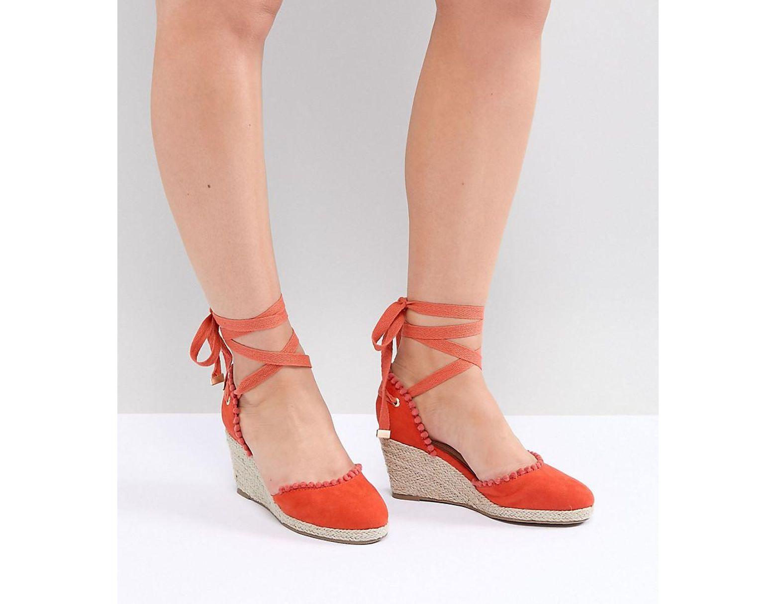 454158428aa Women's Orange Wide Fit Pom Espadrille Wedge