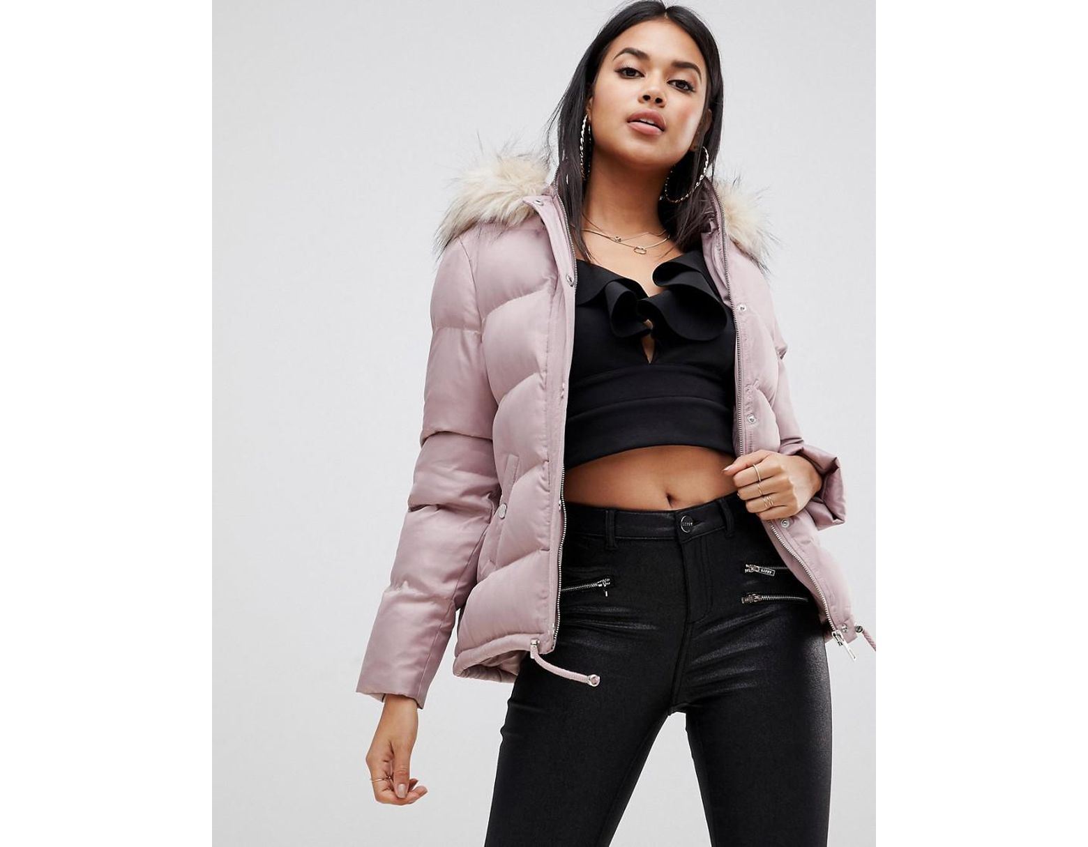 6eccec53b Lipsy Synthetic Cropped Puffer Jacket With Hood And Faux Fur Trim In ...