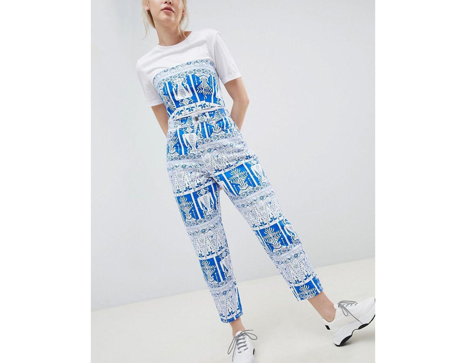75dcecfaeb7e6 ASOS Balloon Leg Boyfriend Jeans In Tile Print in Blue - Lyst