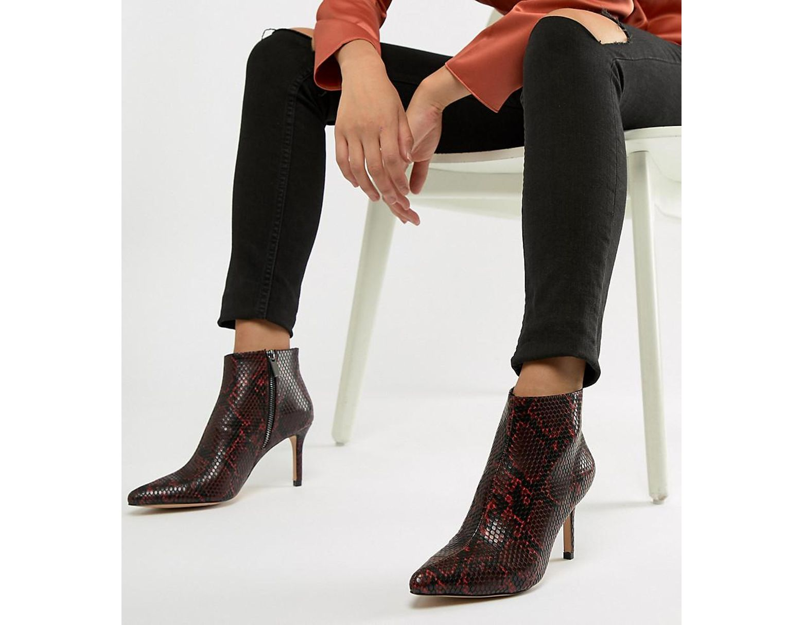 76f5c48881c9 Stradivarius Heeled Ankle Boot In Snake Print in Brown - Lyst