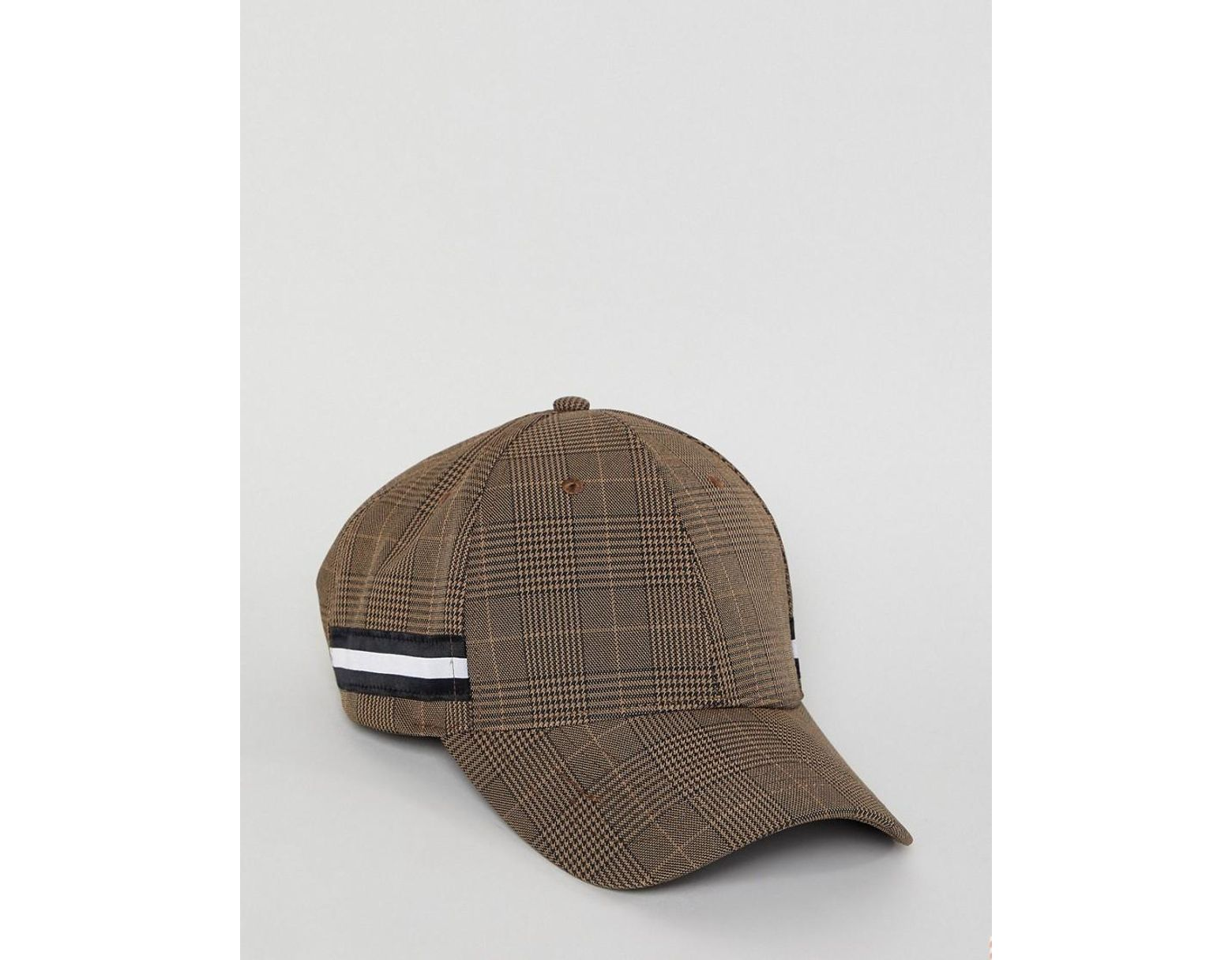 55df750e2f57 Gorra de cuadros marrones con detalle de cinta de hombre de color marrón