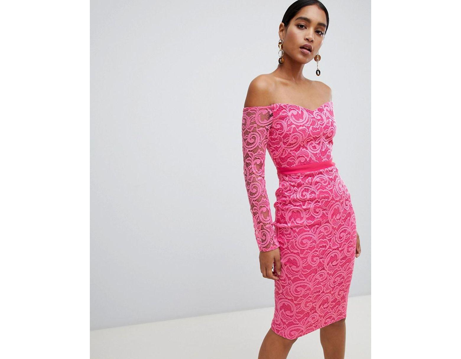 b8b3487c290b4 Vesper Lace Boat Neck Long Sleeve Pencil Dress in Pink - Lyst