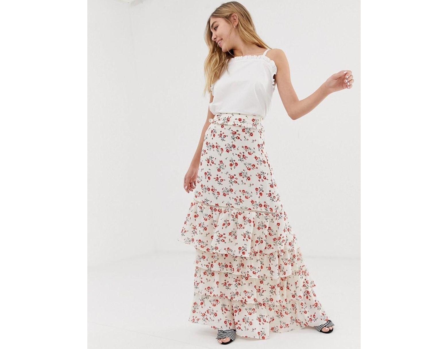 Larga Con Floral Mujer Falda Ojales rdtsxBhCQ