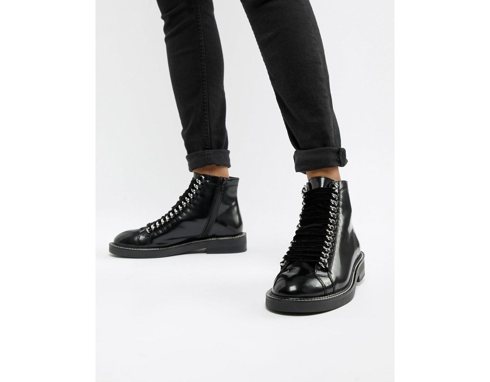 86844653ba2 Women's Black Amellie Leather Lace Up Chain Ankle Boots