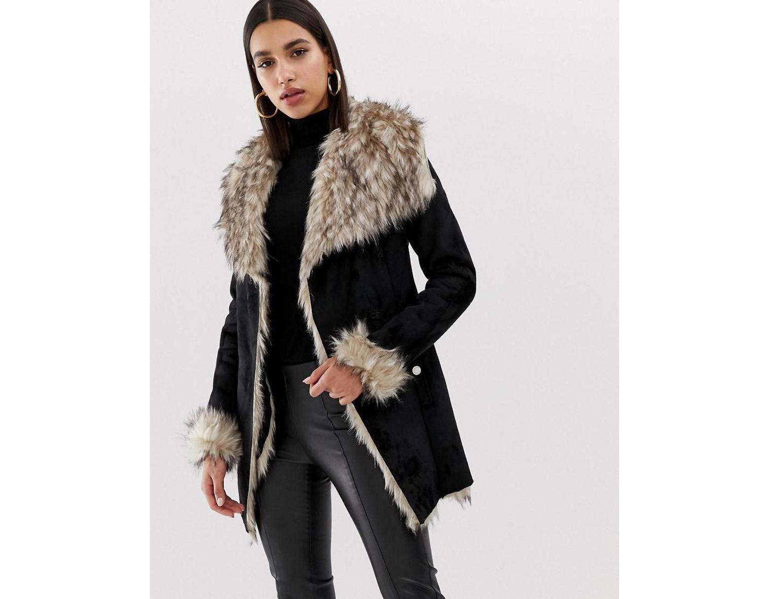 c8ecfa58dbe Women's Bonded Faux Fur Wrap Jacket In Black