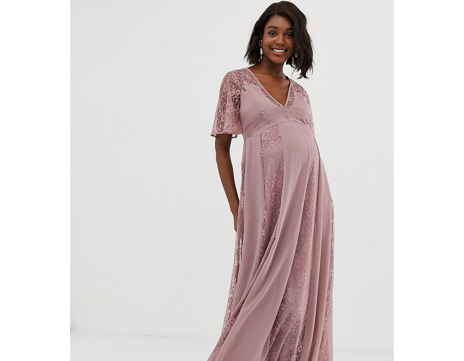 16e67e94a7d Lyst - ASOS Asos Design Maternity Maxi Dress With Flutter Sleeve And All  Over Lace Insert in Pink