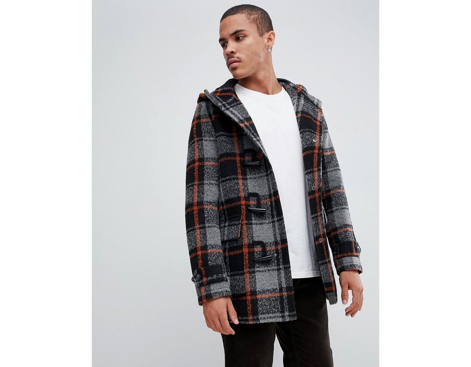 ff1f38f5898e6 ASOS Wool Mix Duffle Coat With Orange Check In Black in Black for Men - Lyst
