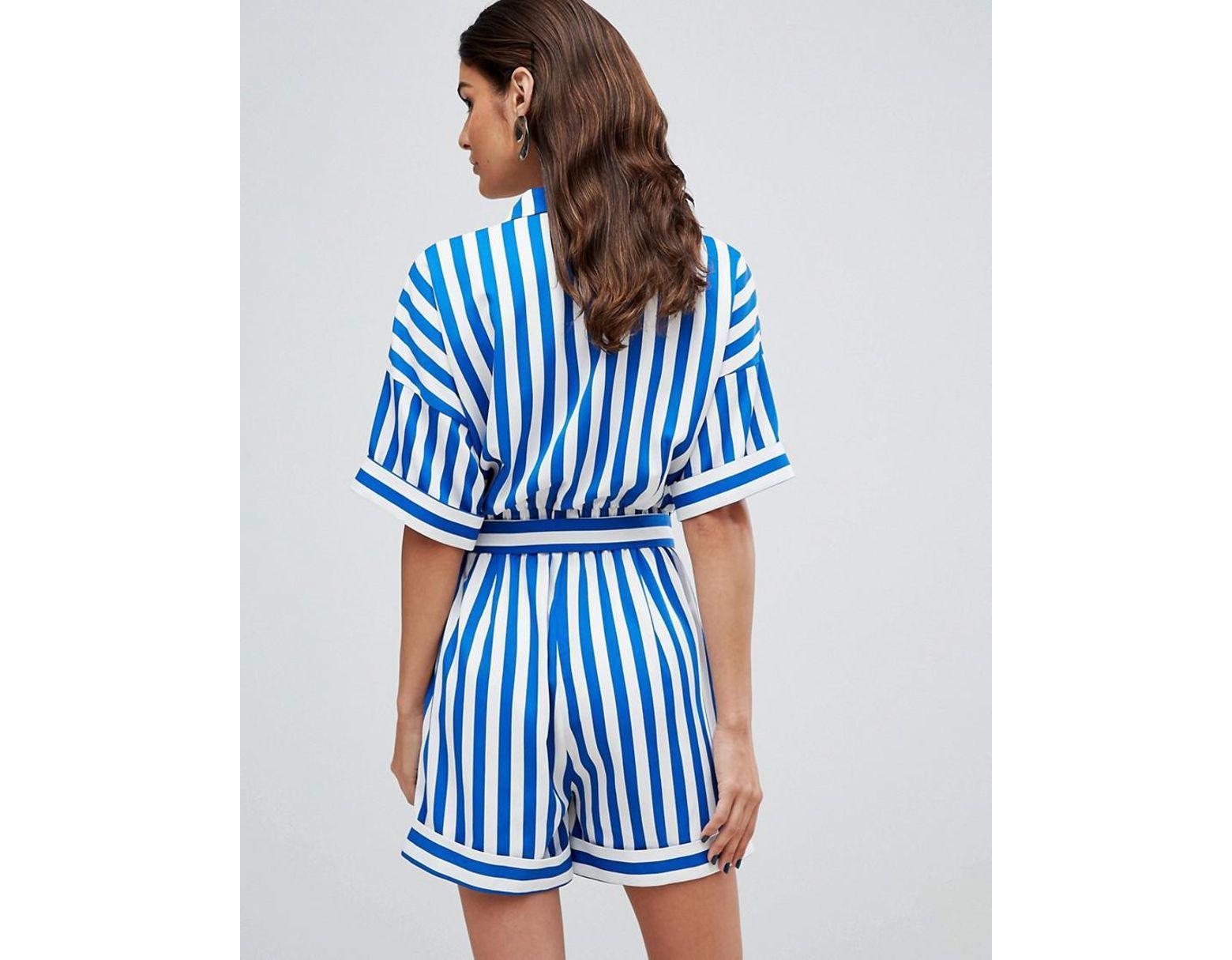 756b1486f66393 Combishort rayé femme de coloris bleu