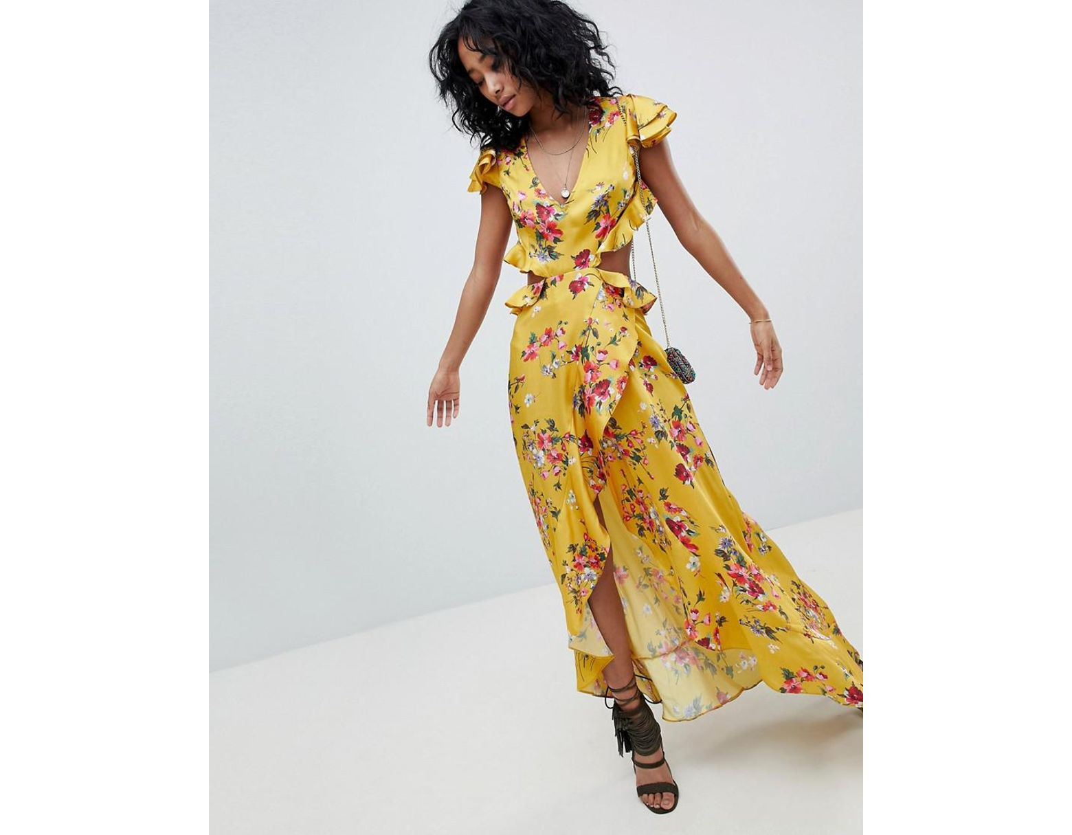 cd890640ffcc1 ASOS Ruffle Maxi Dress With Cut Out Back In Yellow Floral Print in Yellow -  Lyst