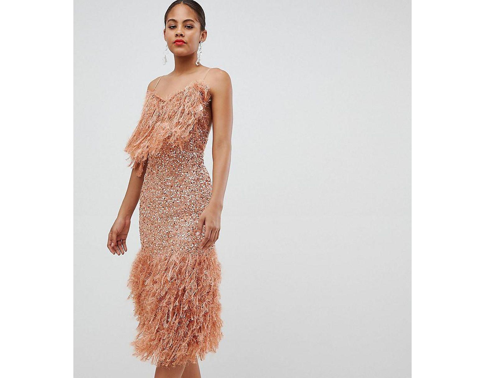 50b8b9c1aebd4 ASOS Asos Design Tall Feather Effect Trim Sequin Midi Bodycon Dress in Pink  - Lyst
