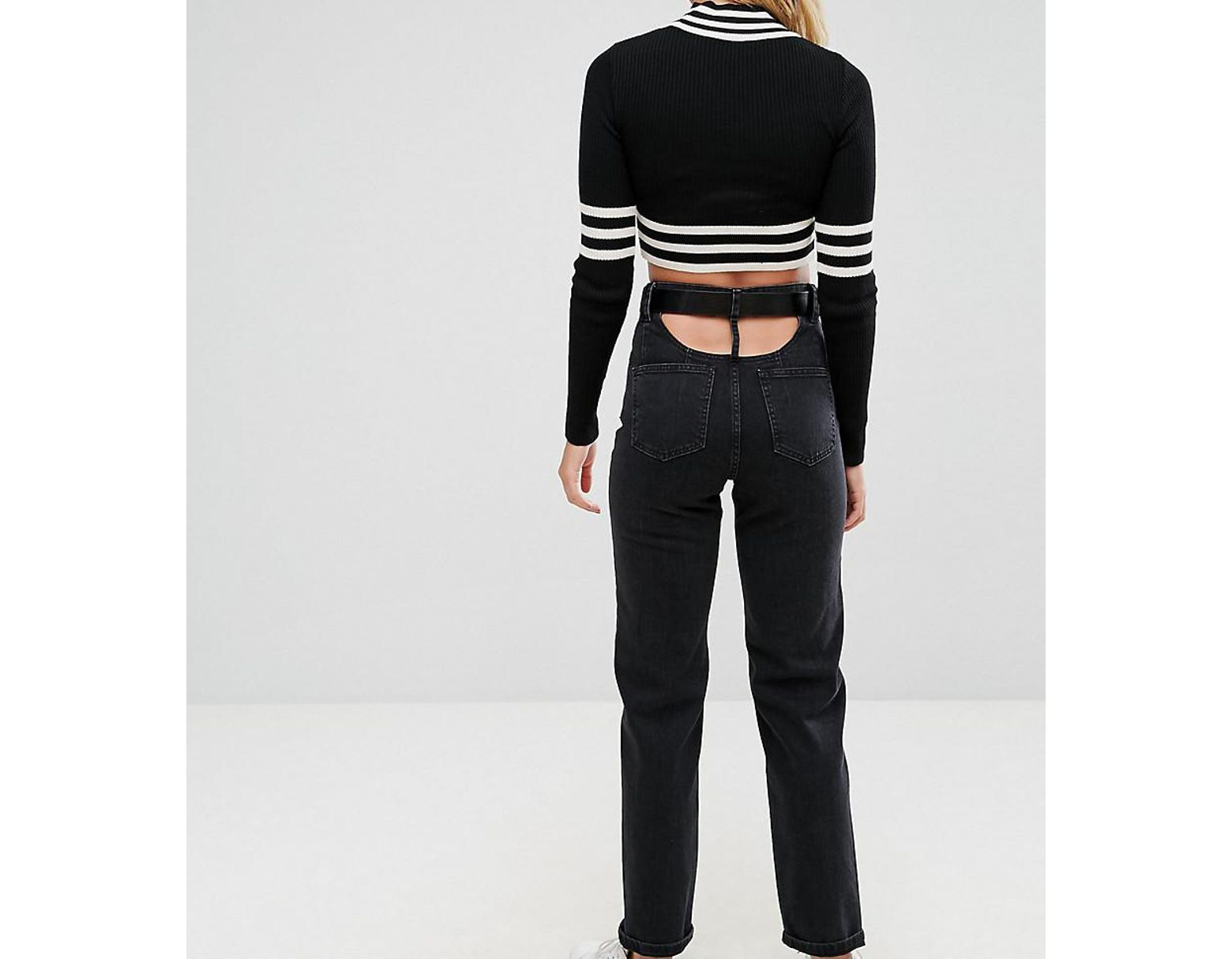 1fdfa84e42eea9 ASOS High Waisted Straight Leg Jeans With Open Back In Ashes Washed Black  With Belt in Black - Lyst